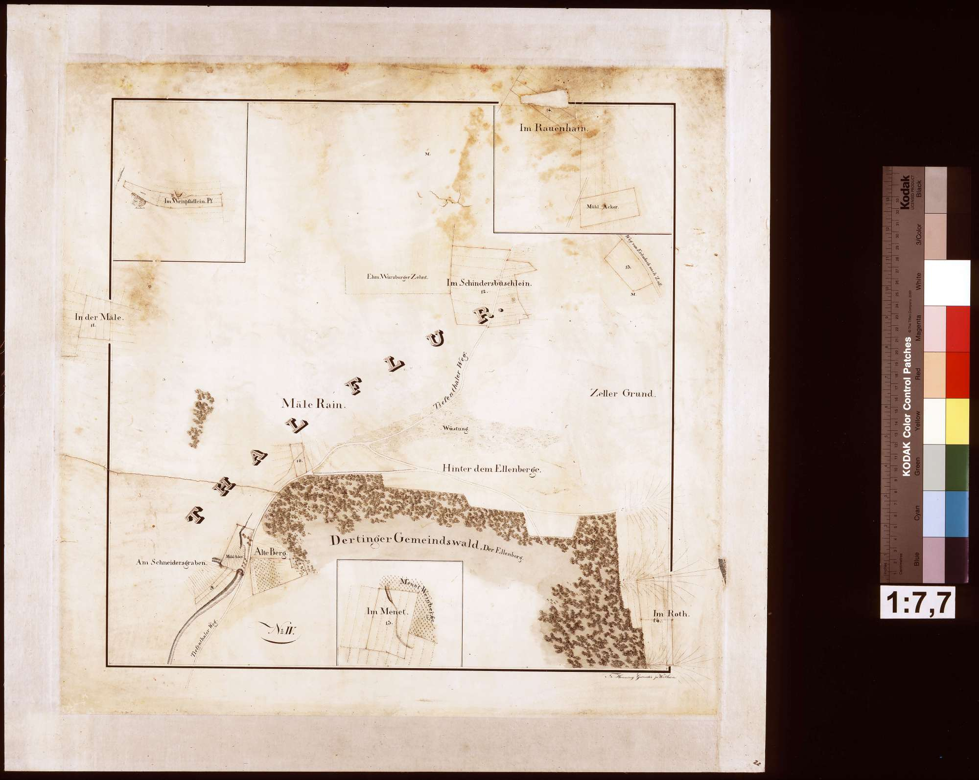 [Fluratlas gemeinherrschaftlicher Grundstücke auf Gemarkung Dertingen] Blatt No. IV (Hauptkarte mit 3 Nebenkarten), Bild 1