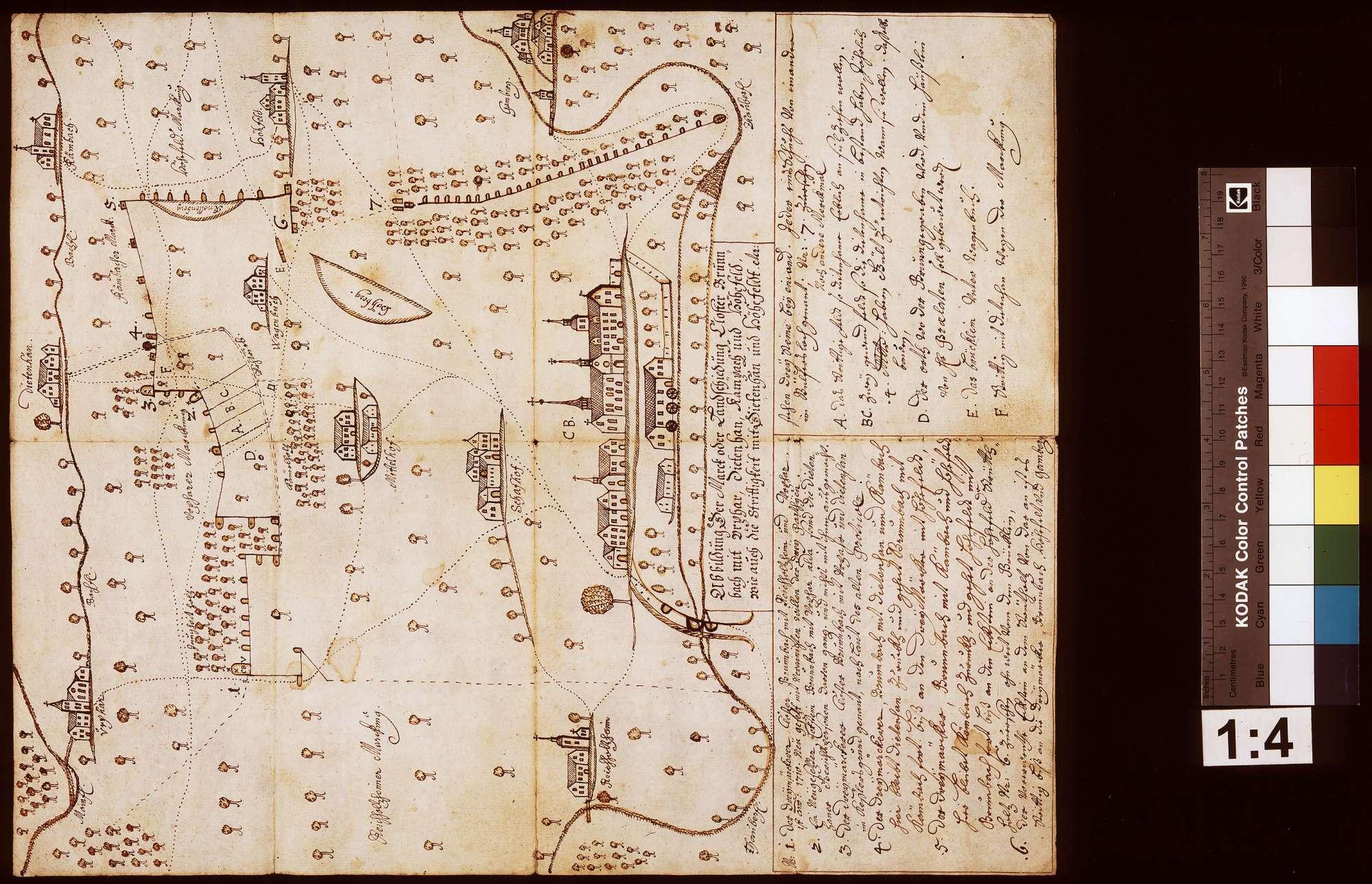 Abbildung der Mark und Landschiedung des Klosters Bronnbach mit Urphar, Dietenhan, Kembach und Höhefeld [...], Bild 1