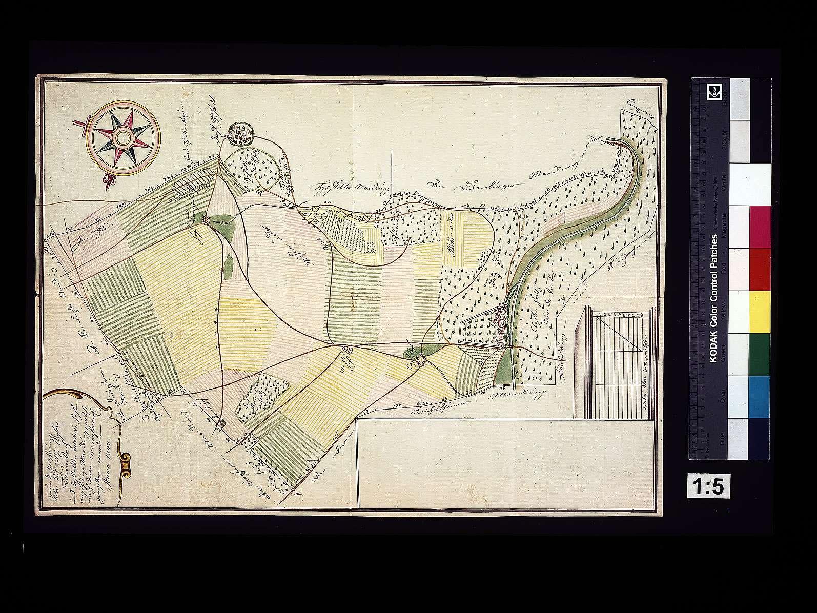Grundzeichnung über das Kloster Bronnbach und den dazugehörigen Höfen und Markungen, Bild 1