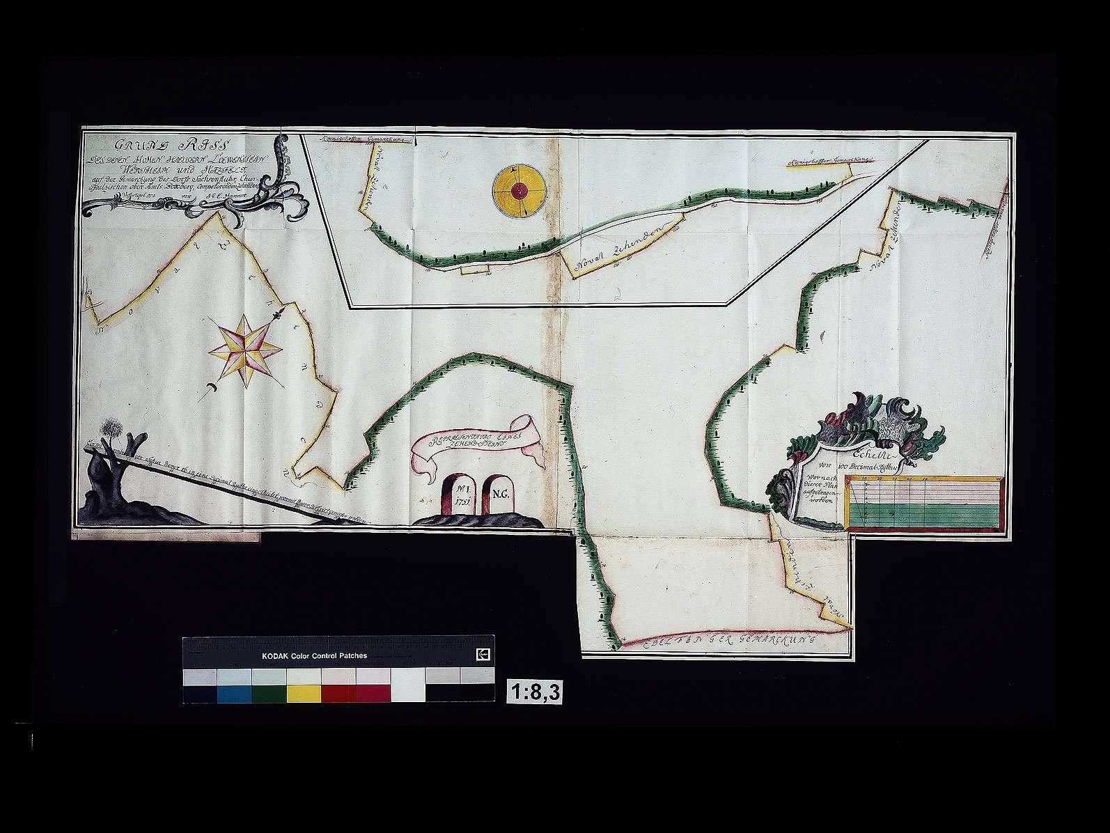 Grundriss der Häuser Löwenstein-Wertheim und Hatzfeld auf der Gemarkung des Dorfes Sachsenflur, Kurpfälzisches Oberamt Boxberg zustehenden Zehnt, Bild 1