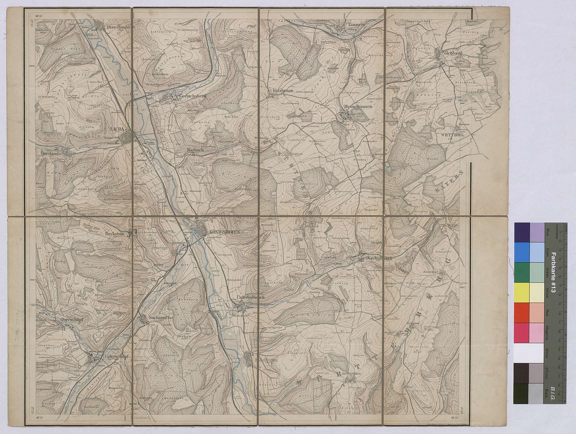 Topographische Karte Königshofen Maßstab 1:25 000 / Zwei-Farben-Druck / 47 x 56 cm, Bild 1