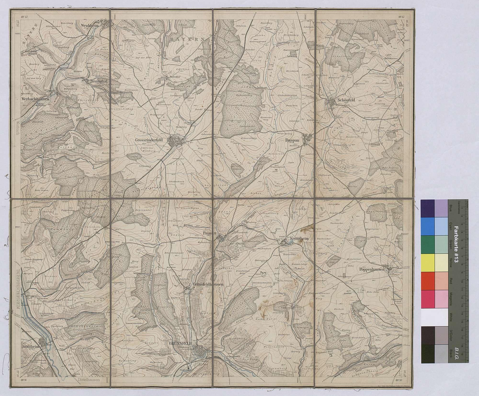 Topographische Karte Grünsfeld [Nr. 6324] Maßstab 1:25 000 / Zwei-Farben-Druck / 47 x 51 cm, Bild 1