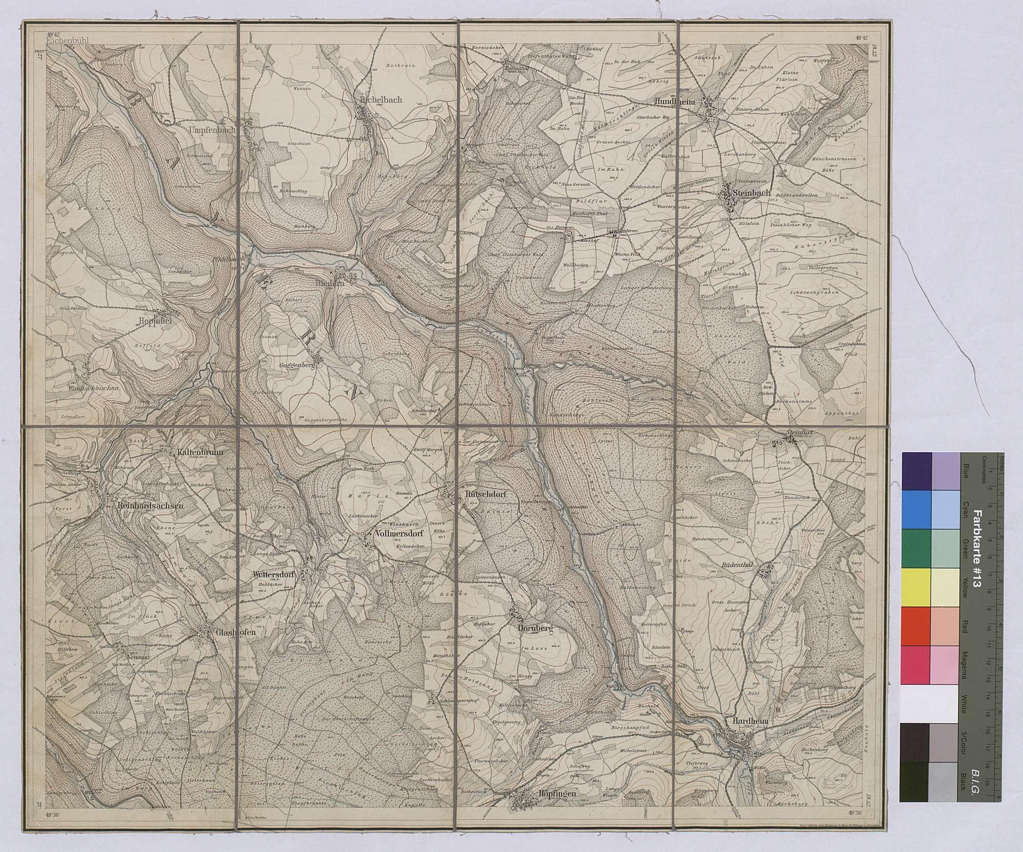Topographische Karte Hardheim [Nr. 6322] Maßstab 1:25 000 / Zwei-Farben-Druck / 47 x 51 cm, Bild 1
