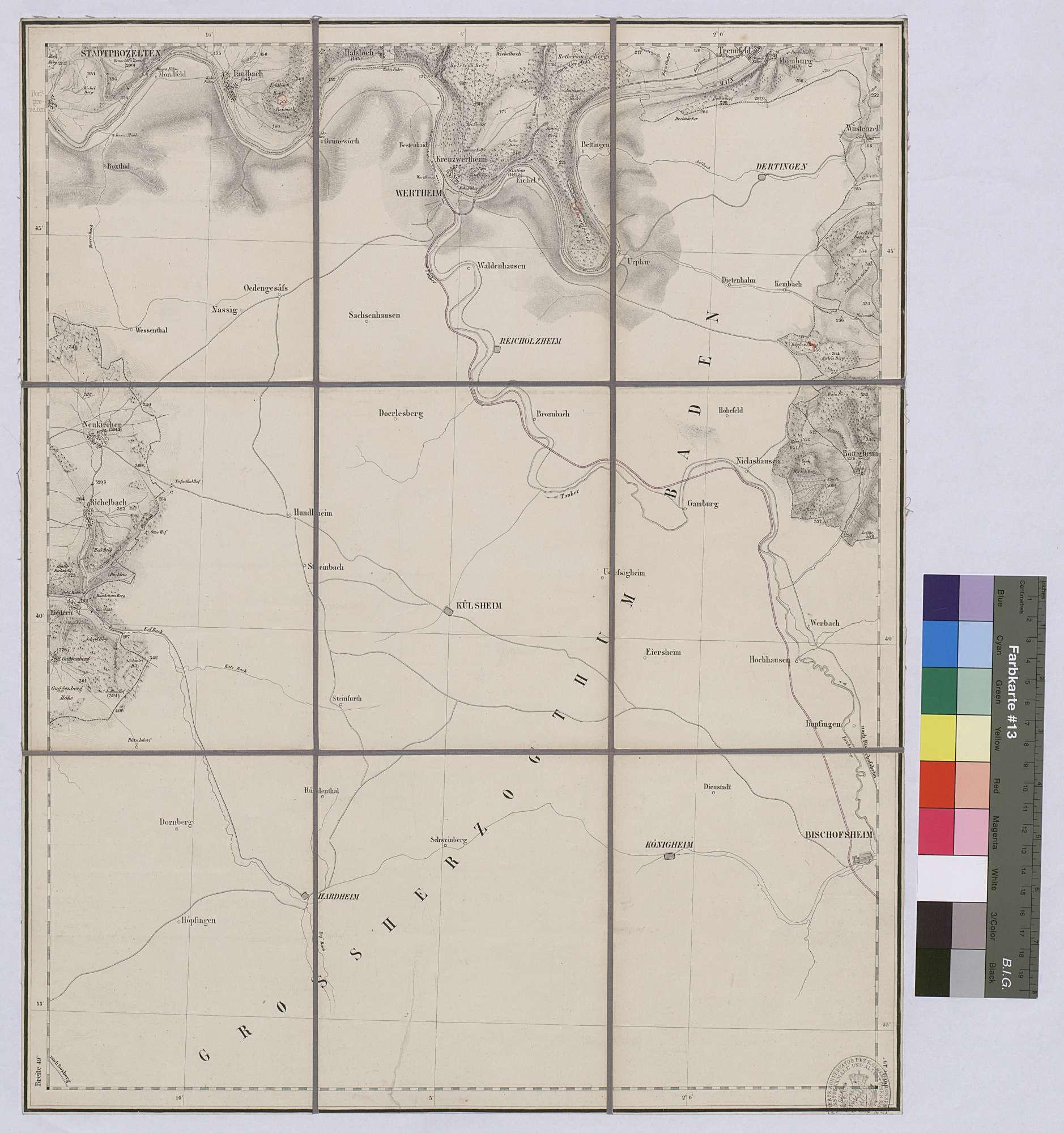 Topographische Karte Miltenberg Ost Maßstab 1:25 000 / Zwei-Farben-Druck / 53 x 43 cm, Bild 1