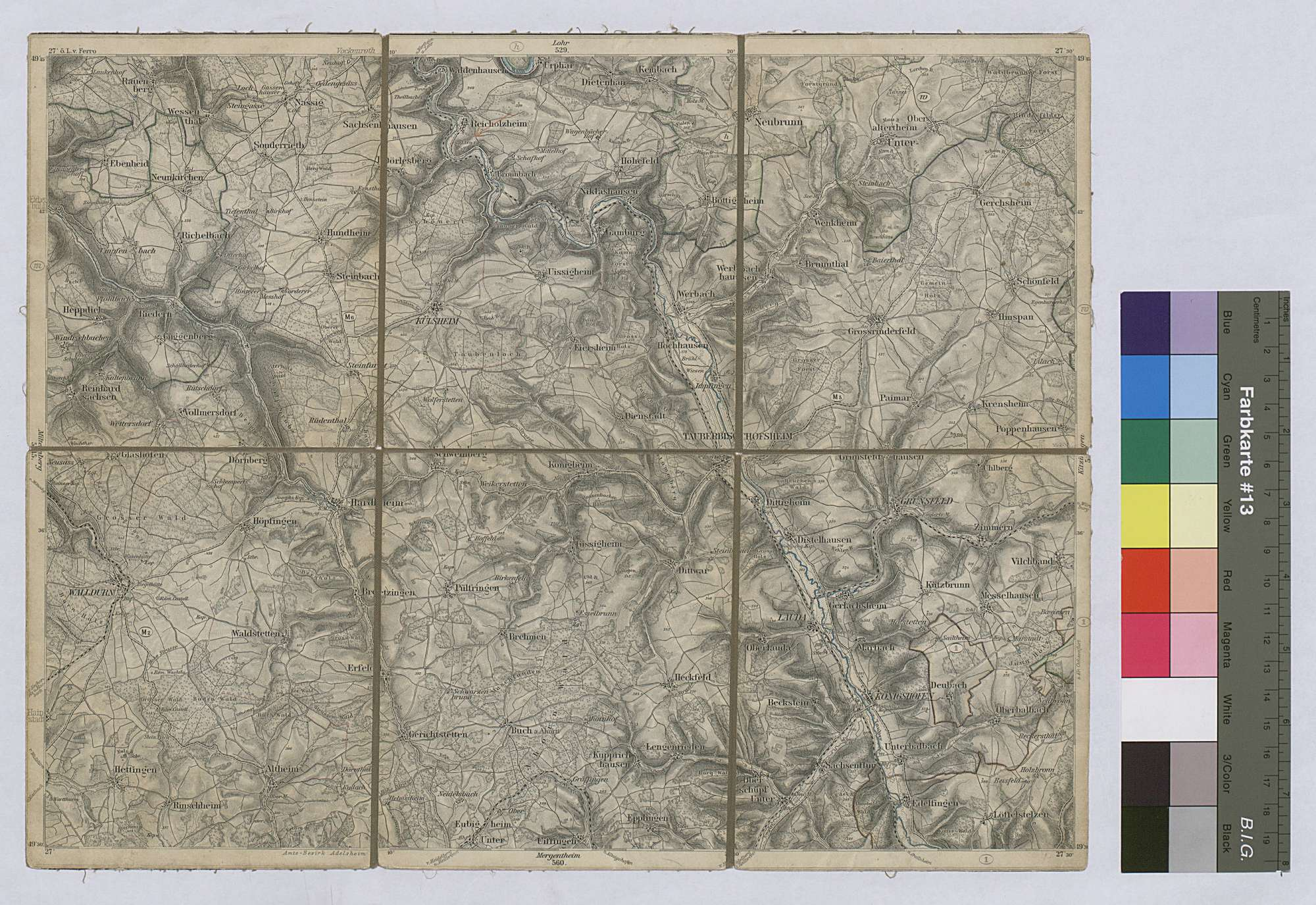 Topographische Karte Tauberbischofsheim Nr. 546 Maßstab 1:100 000 / Vier-Farben-Druck / 29 x 38 cm, Bild 1