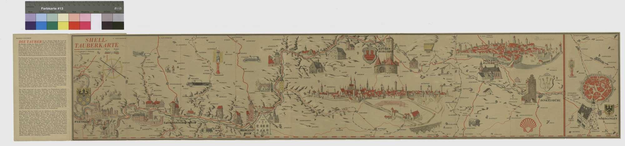 """Shell-Tauberkarte """"Der Taubergrund Wertheim - Rothenburg - Dinkelsbühl - Nördlingen"""", 1"""
