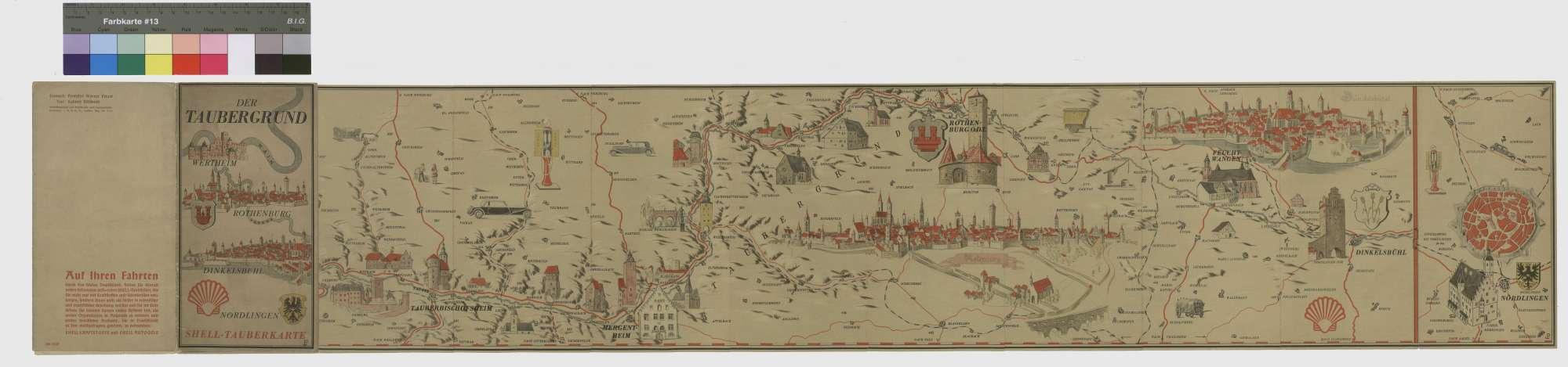 """Shell-Tauberkarte """"Der Taubergrund Wertheim - Rothenburg - Dinkelsbühl - Nördlingen"""", 2"""