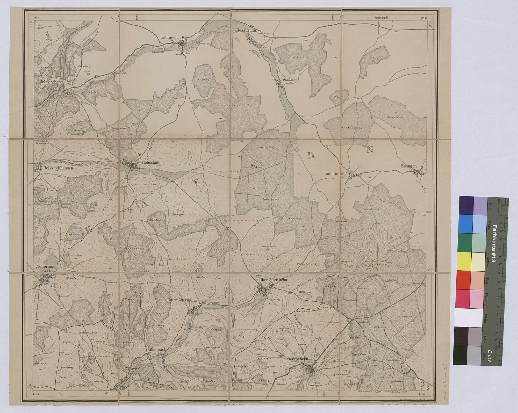 Neue topographische Karte von Baden, Blatt 4 Gerchsheim, Vorderseite