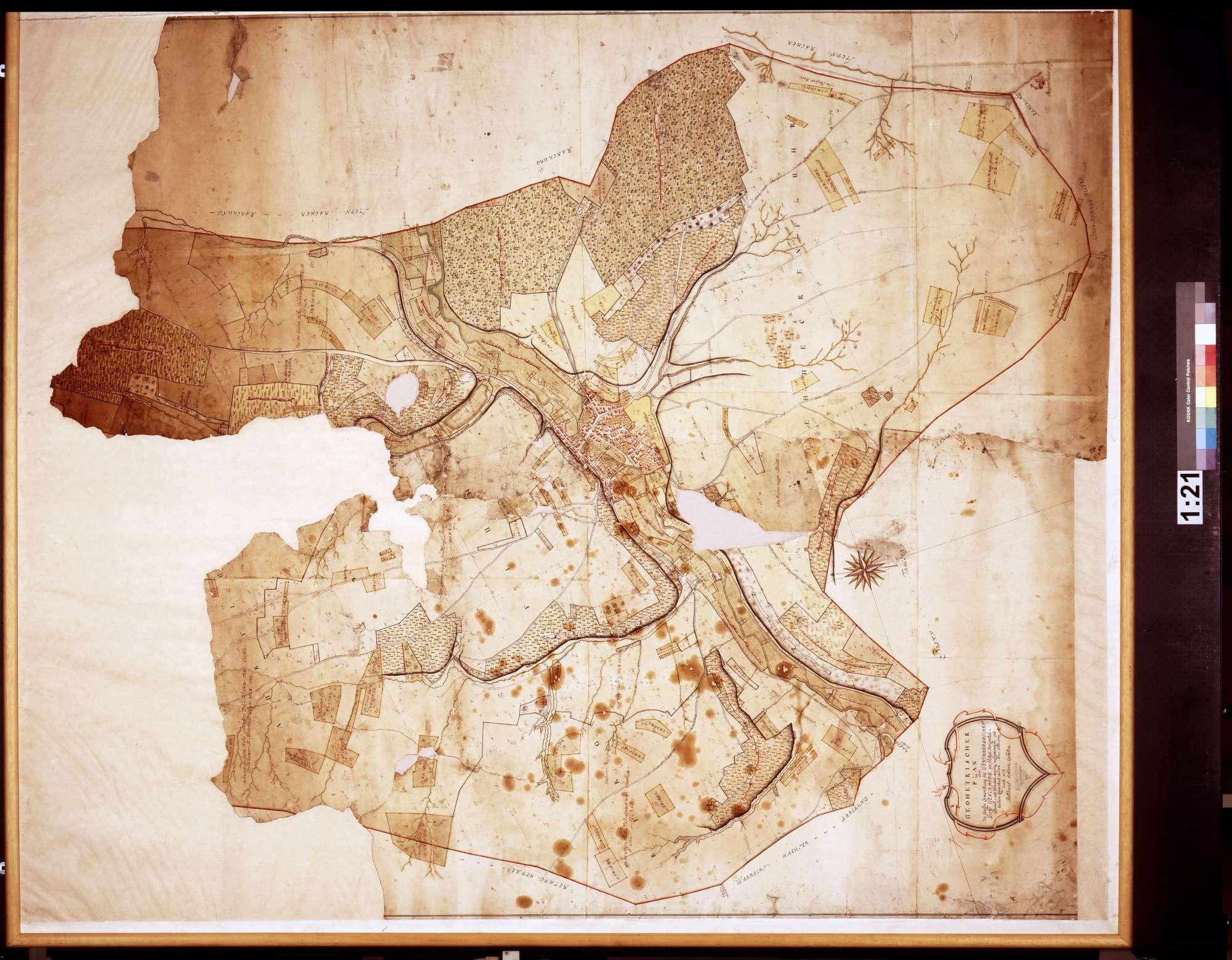 Gemarkung des wertheimischen Dorfs Wenkheim, wie solches horizontalkunst- und winkelmäßig aufgenommen und hiehero gezeichnet worden (Inselkarte), Bild 1