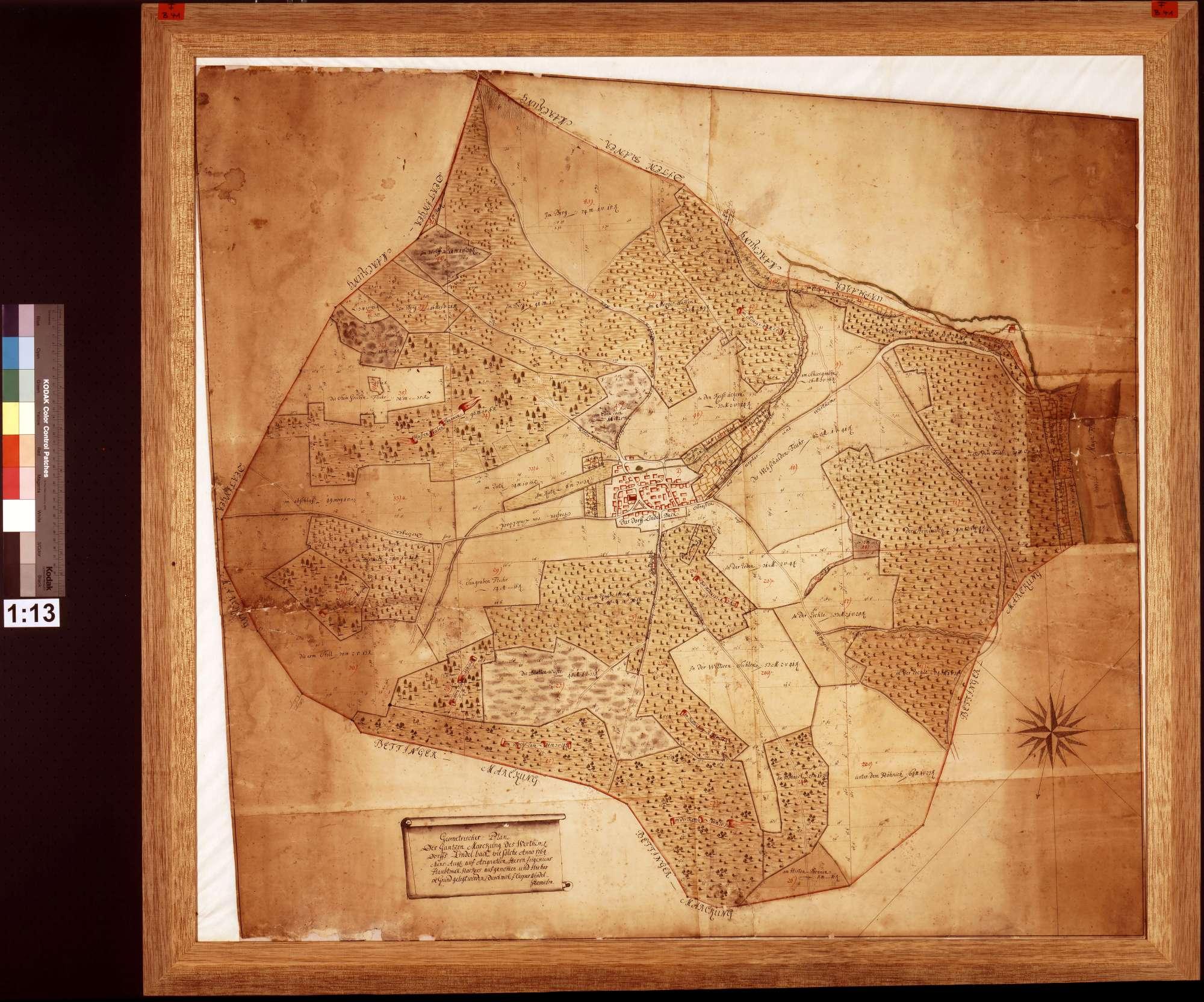 Markung des wertheimischen Dorfs Lindelbach, wie solche Anno 1764 Mense Augusti auf Assignation des Ingenieurs Haeckher aufgenommen und hieher in Grund gelegt worden (Inselkarte), Bild 1