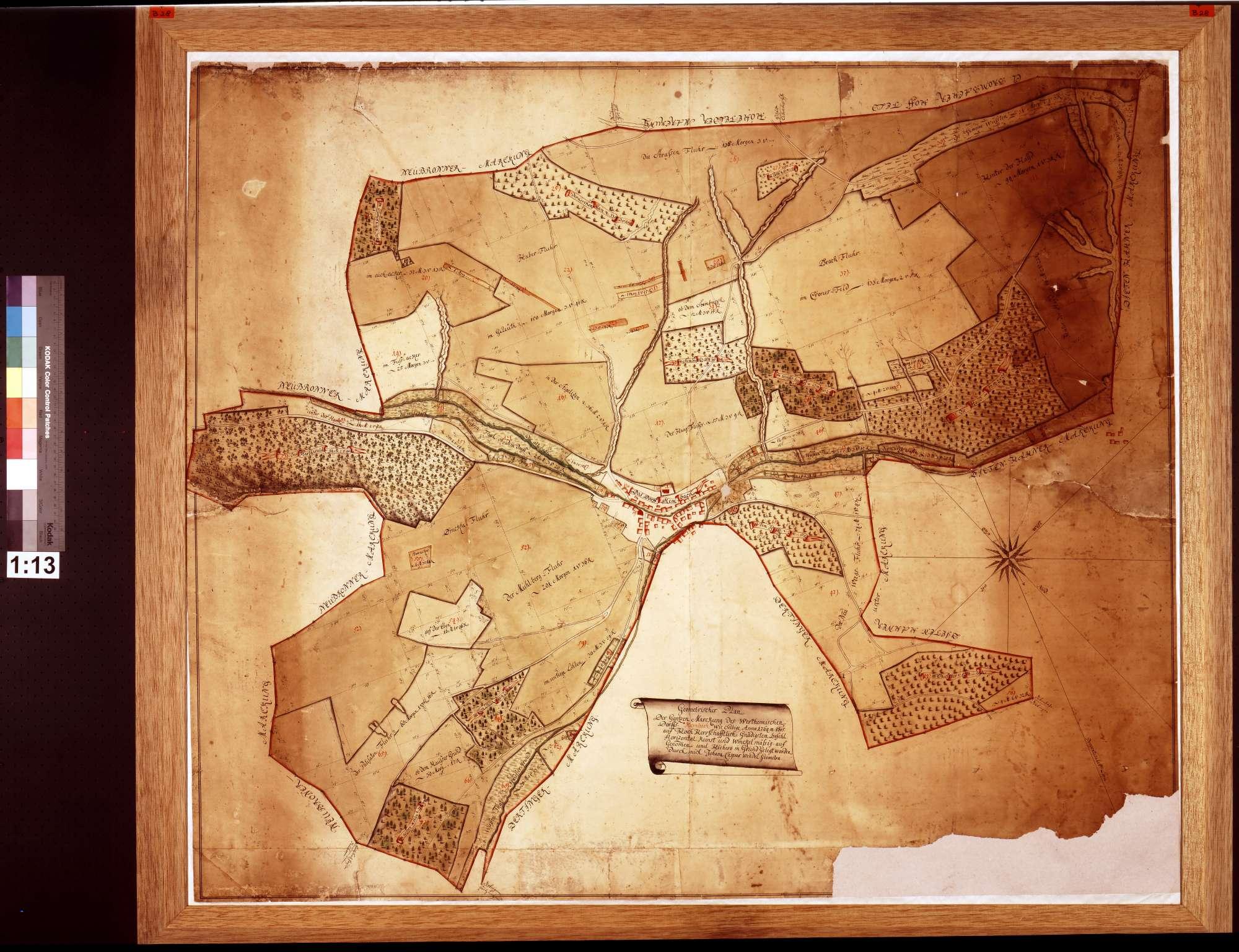 Markung des wertheimischen Dorfs Kembach, wie selbige Anno 1764 Mense Octobris auf herrschaftlichen Befehl horizontalkunst- und winkelmäßig aufgenommen und hiehero in Grund gelegt worden (Inselkarte), Bild 1
