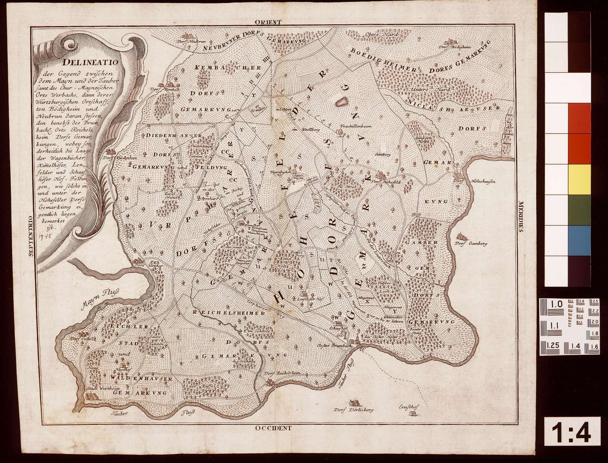 Delineato der Gegend zwischen dem Main und der Tauber mit den Gemarkungen Werbach, Böttigheim und Neubrunn, Bild 1