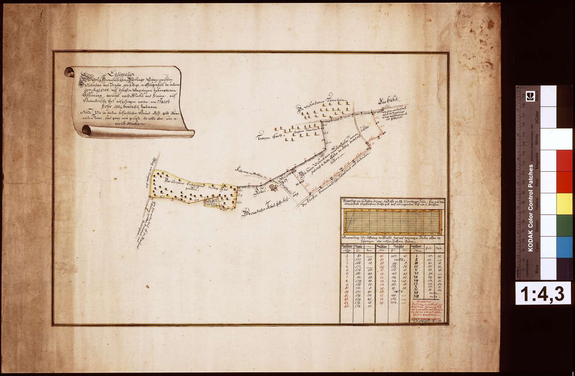 Delineation der Bronnbachischen Markungsgrenze zwischen Dietenhan und Urphar, Bild 1