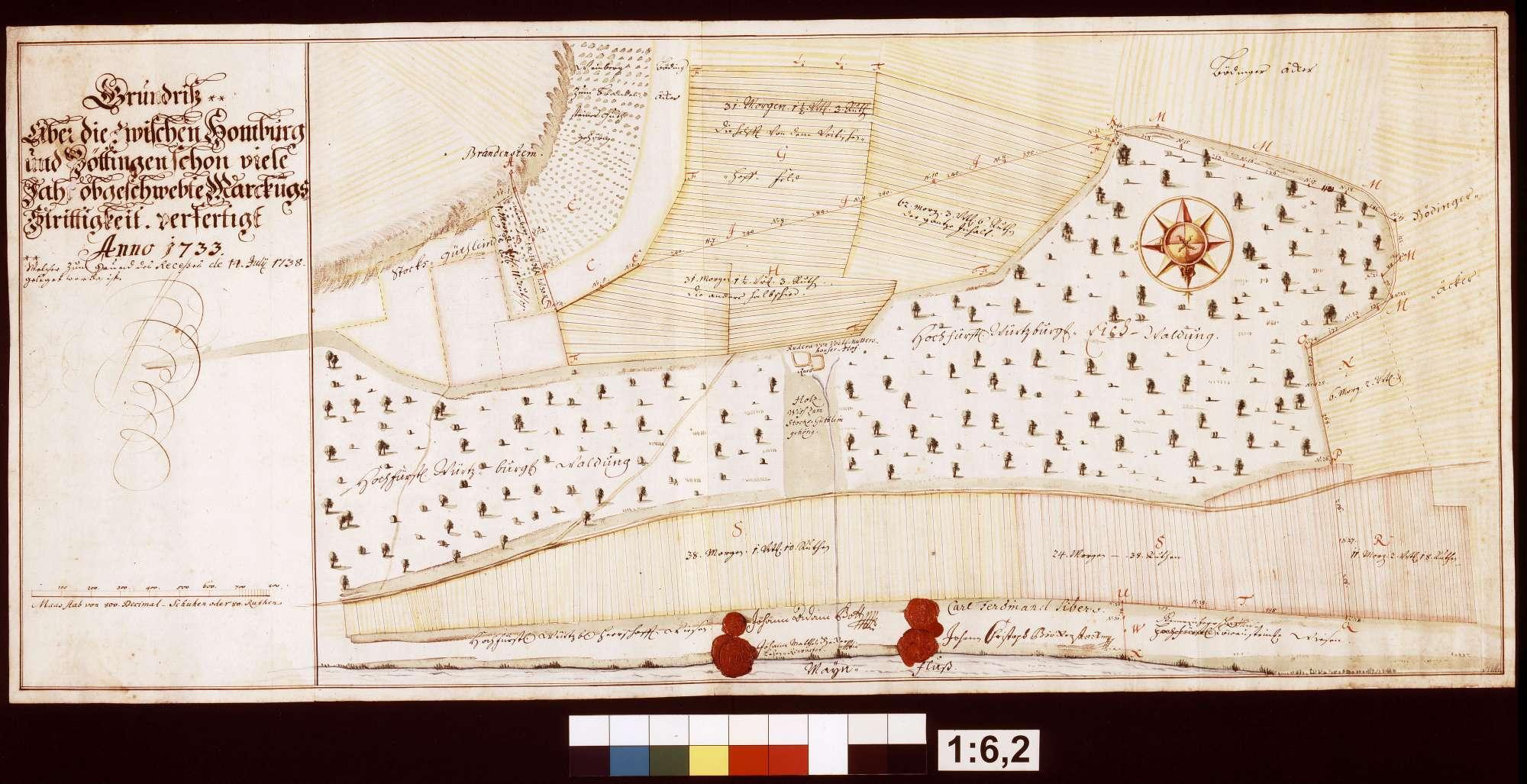 Grundriss über die Gemarkungsstreitigkeiten zwischen Homburg und Bettingen, Bild 1