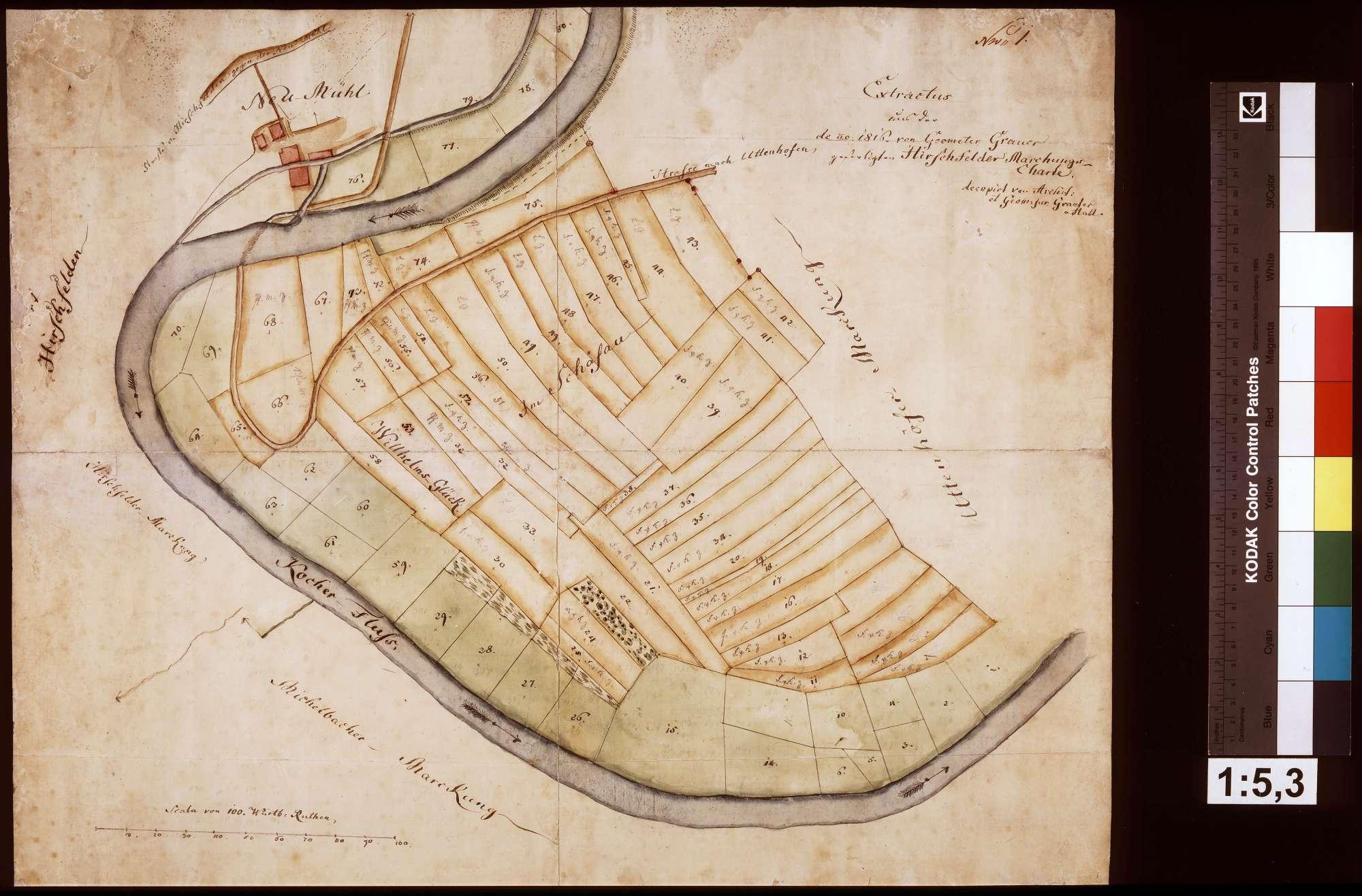 Auszug aus der Hirschfelder Gemarkungskarte, Bild 1