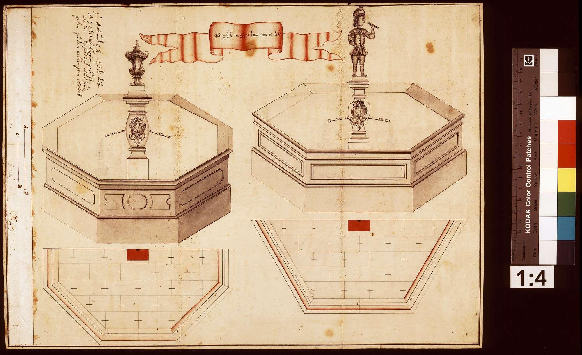 Plan für einen artesischen Brunnen am Schloss Lautereck, Bild 1