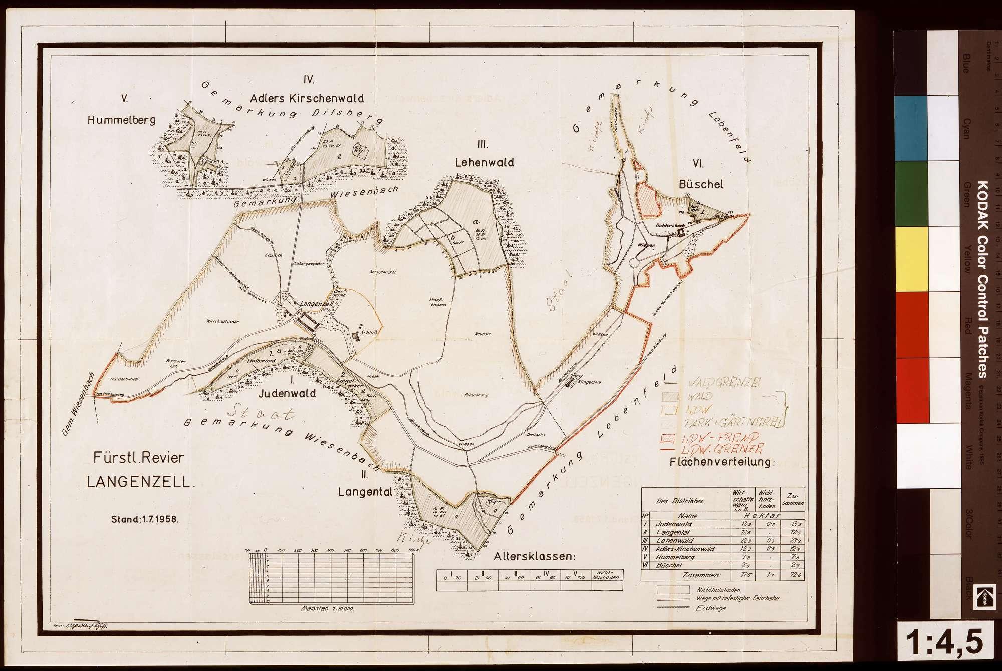 Bestandsübersichtskarte des Reviers Langenzell, Bild 1