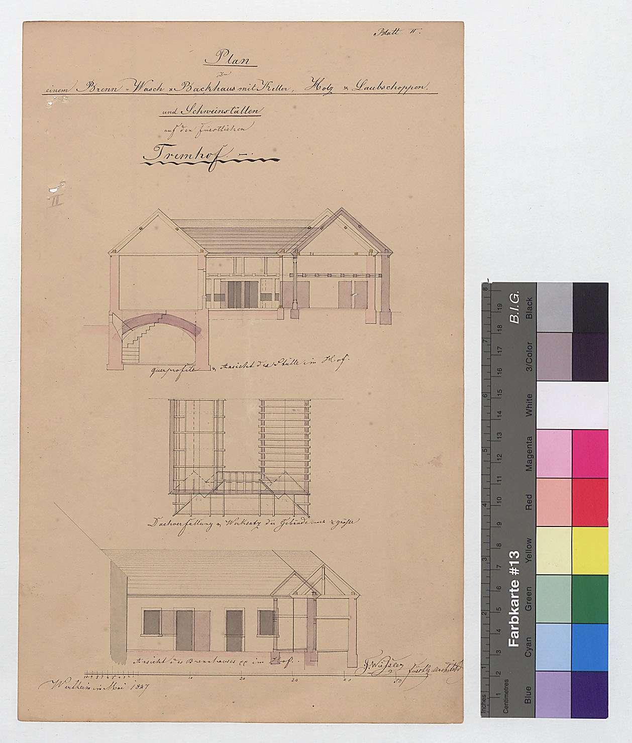 Brenn-, Wasch- und Backhaus mit Keller, Holz- und Laubschuppen und Schweineställen auf dem Tremhof (Blatt II), Bild 1