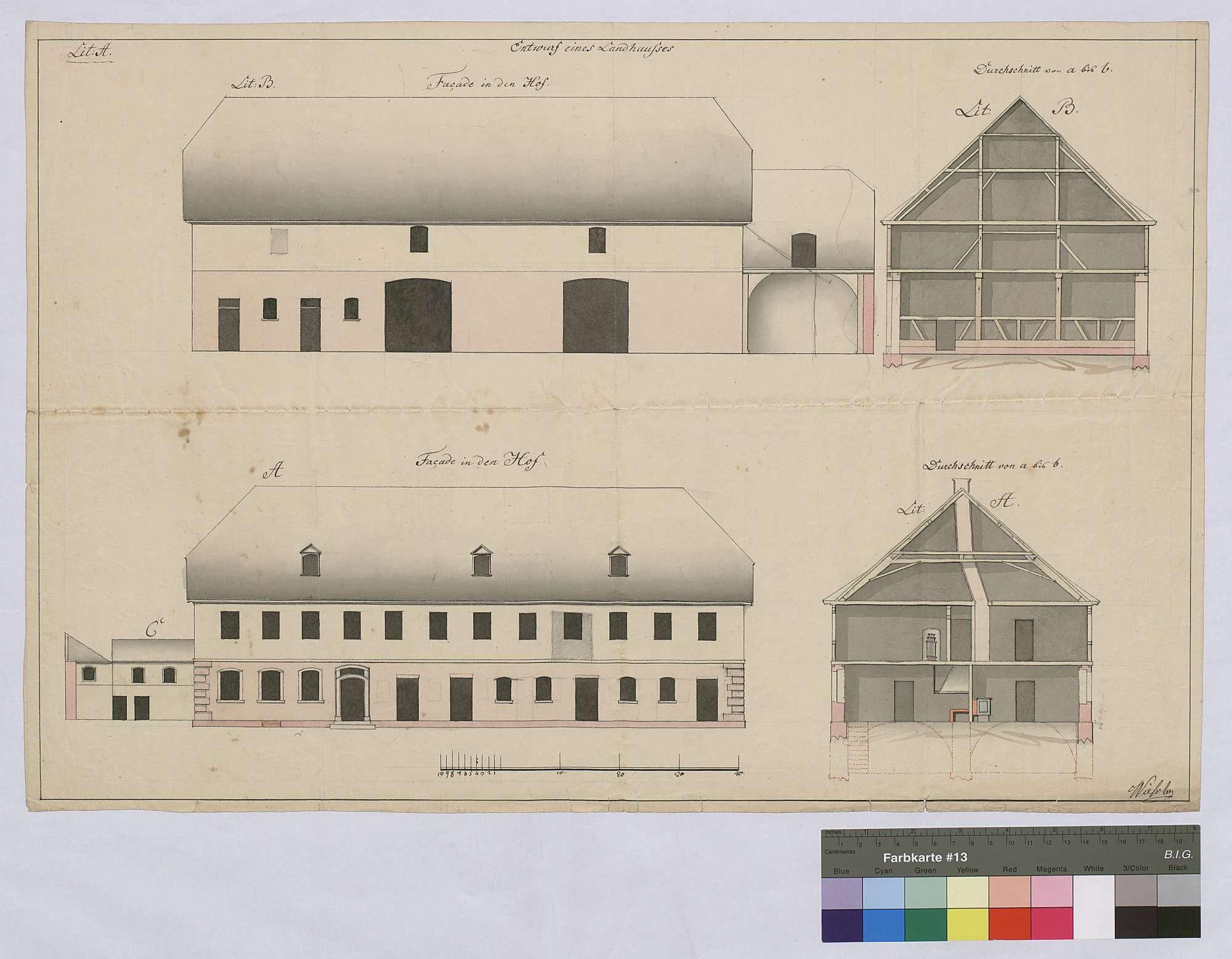 Errichtung von Ökonomiegebäuden auf dem Reinhardshof in Wertheim: Entwurf eines Landhauses, Bild 1