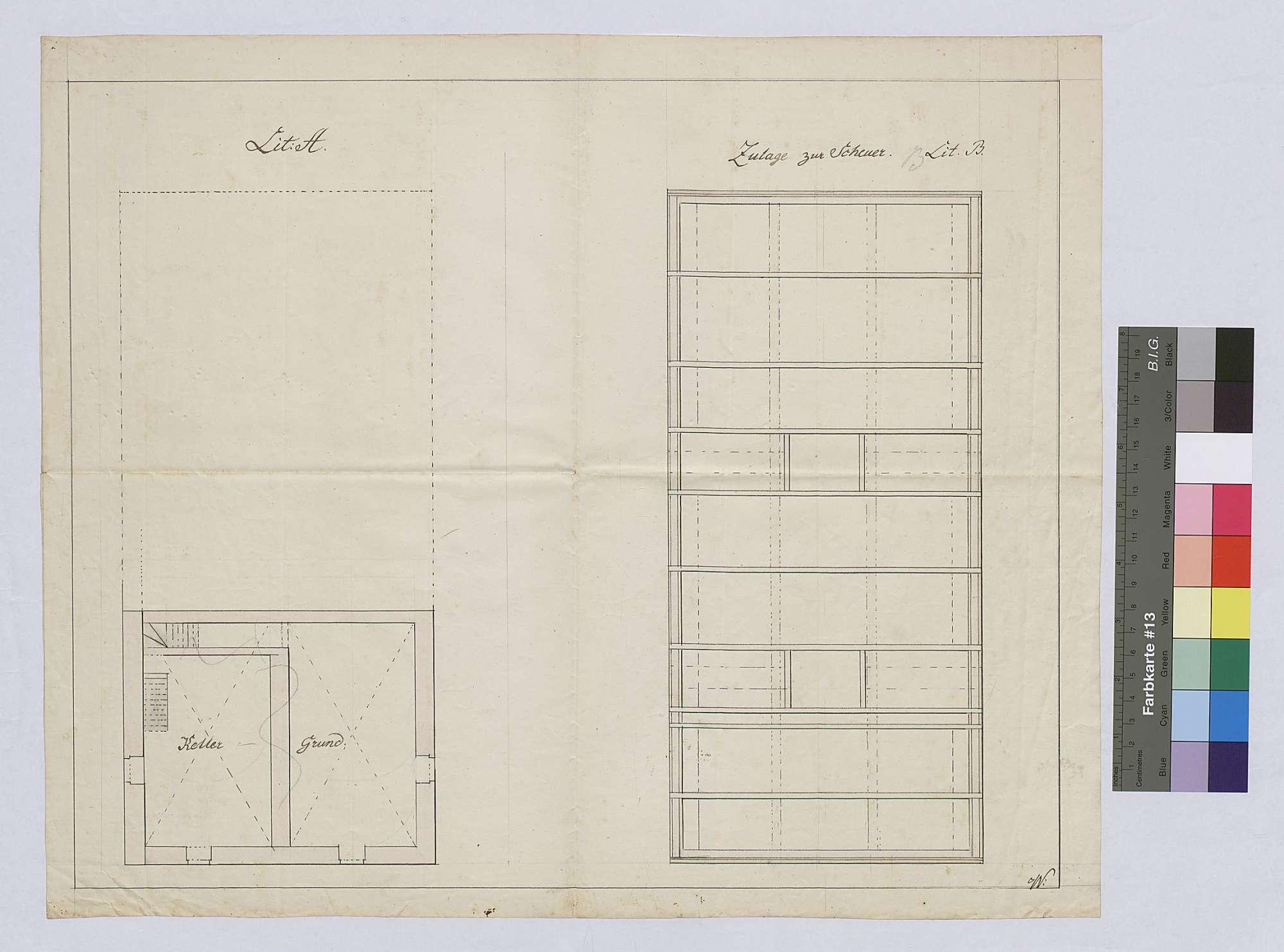 Errichtung von Ökonomiegebäuden auf dem Reinhardshof in Wertheim: Entwurf eines Landhauses mit Scheune und Stall, Bild 1