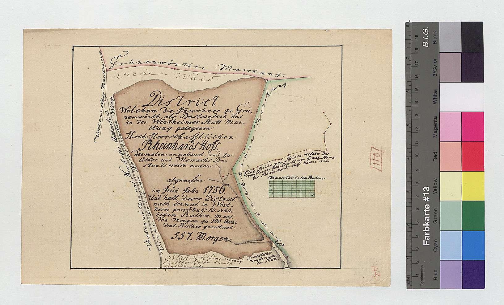 Distrikt Reinhardshof, von den Bürgern von Grünenwört gepachet und zu Acker und Wiese angebaut, Bild 1