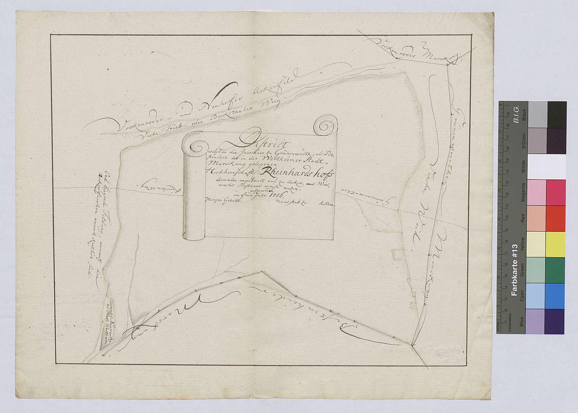Streitigkeiten mit der Stadt Wertheim über die Grenzen des Neuhofs und des Reinhardshofes wegen der Wüstungen, Bild 1
