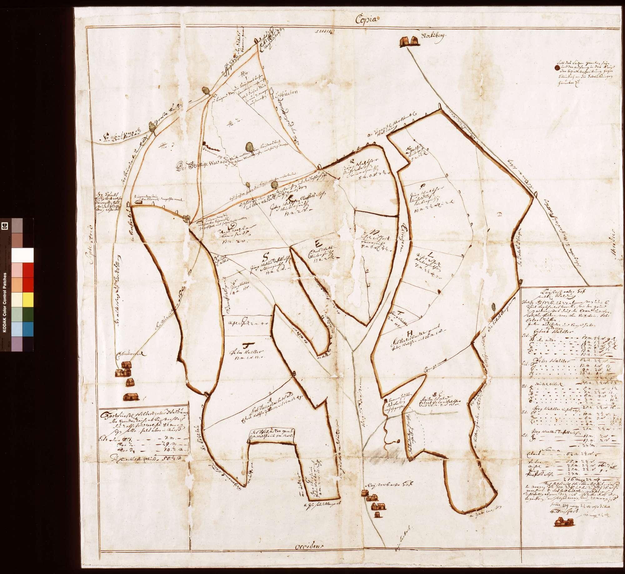 Kaisersbacher Hof: sämtliche Waldungen, welche Anno 1726 und 27 abgemessen und in sechs Teile verteilet worden, wie der Grundriss ausweist (Inselkarte, Fragment), Bild 1