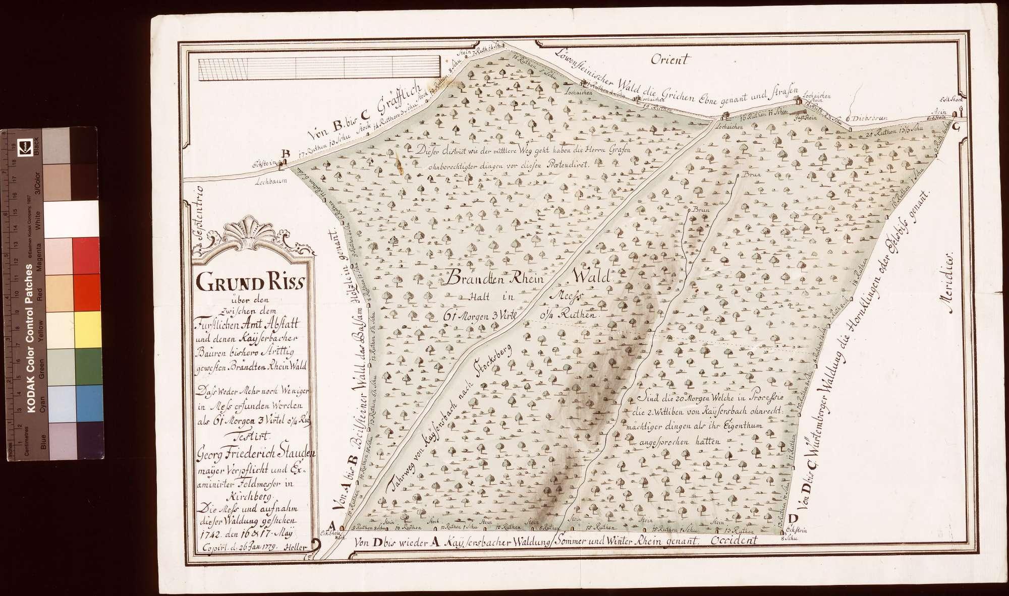 Grundriss über den zwischen dem Amt Abstatt und den Kaisersbacher Bauern bisher strittig gewesten Branntenrain-Wald (Inselkarte), Bild 1