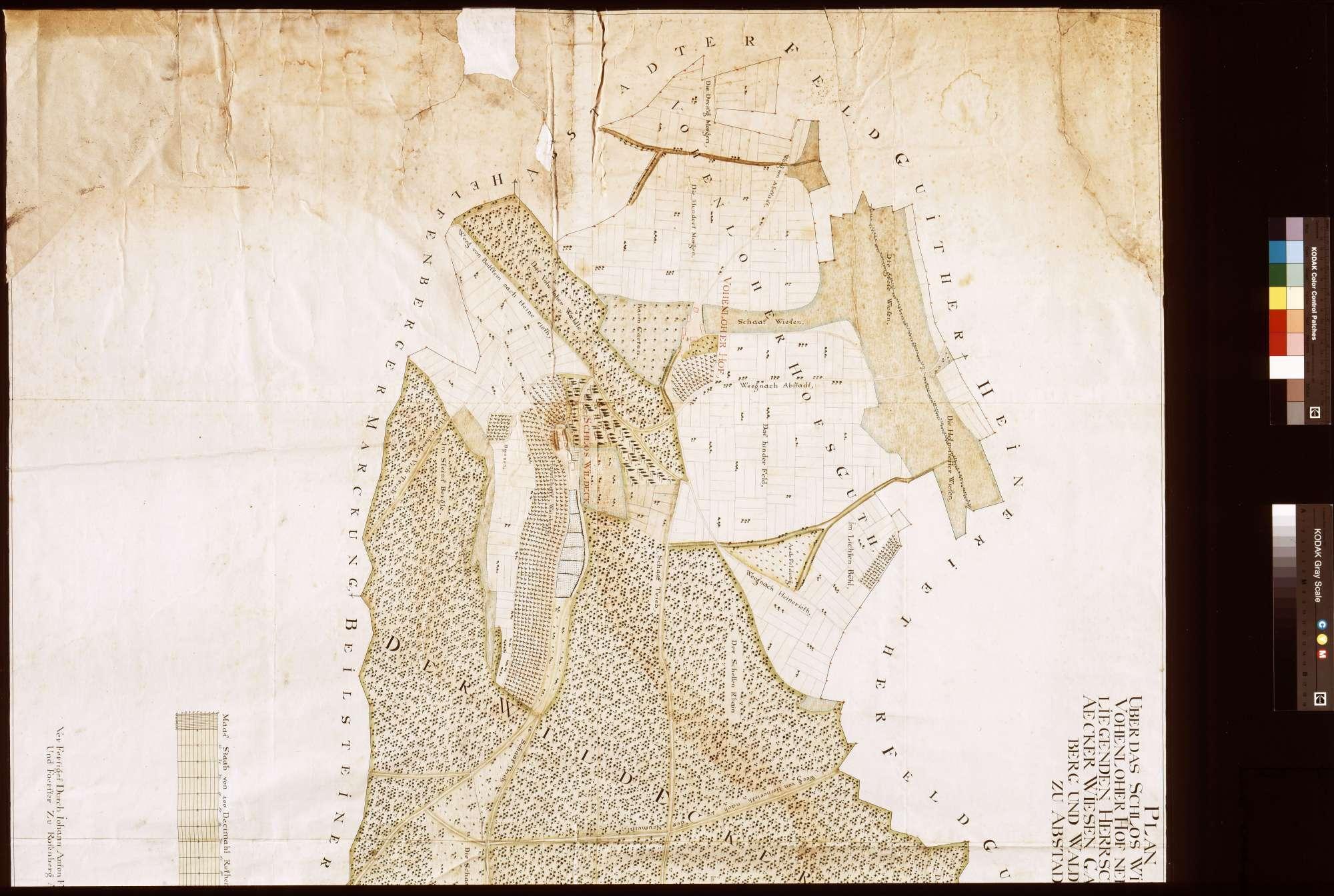 Schloss Wildeck und Vohenloher Hof nebst dabei liegenden herrschaftlichen Äckern, Wiesen, Gärten, Weinberg und Waldungen zu Abstatt (Inselkarte), Bild 1