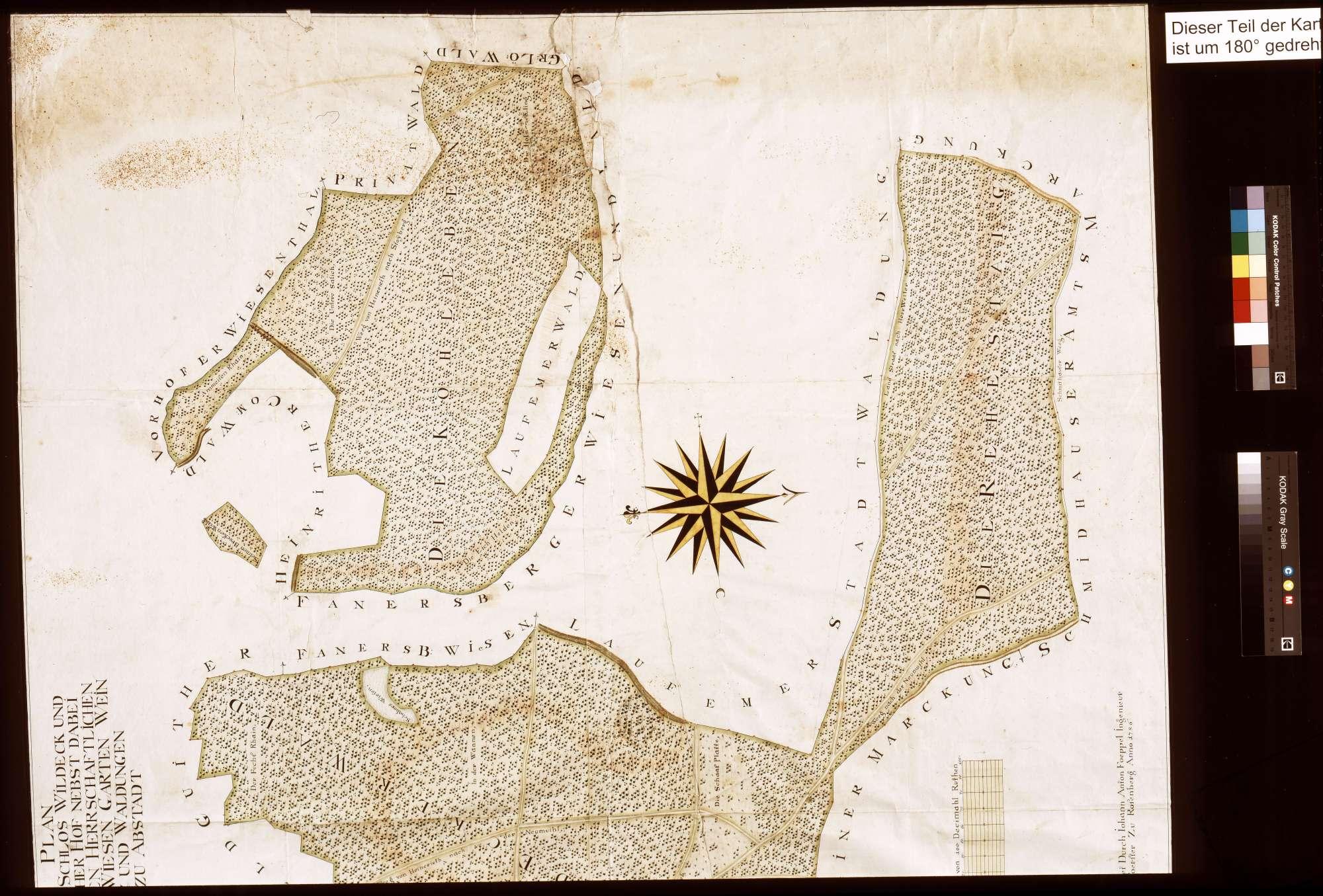 Schloss Wildeck und Vohenloher Hof nebst dabei liegenden herrschaftlichen Äckern, Wiesen, Gärten, Weinberg und Waldungen zu Abstatt (Inselkarte), Bild 2