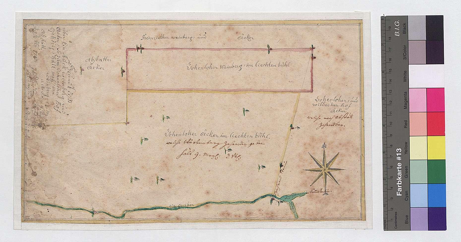 Weinberg und Acker [im Lichtenbühl], so zum Vohenloher Hof gehörig (Inselkarte), Bild 1