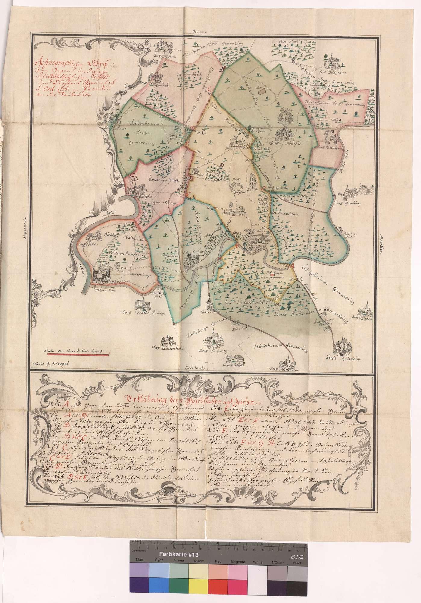 Ichnographischer Abriss der Gegend und Lage des Abteilichen Stifts und Klosters Bronnbach (ist in Franken an der Tauber), Bild 1