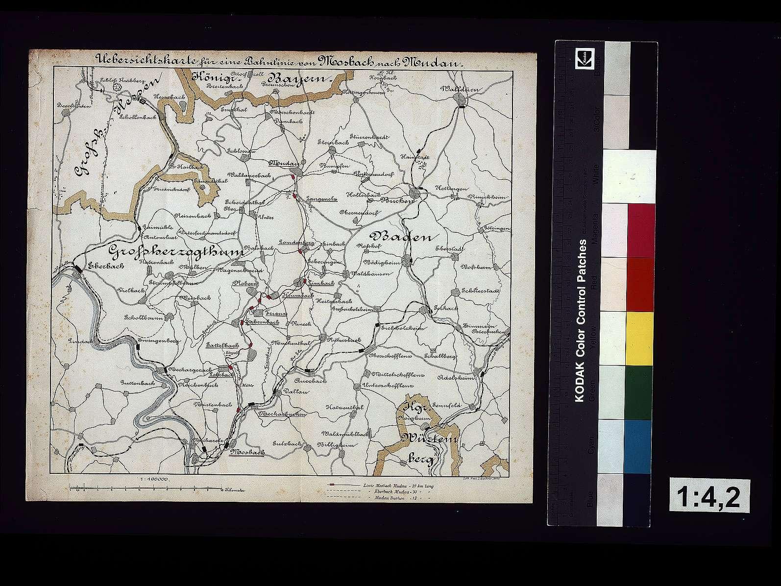 Übersichtskarte für eine Bahnlinie von Mosbach nach Mudau, Bild 1