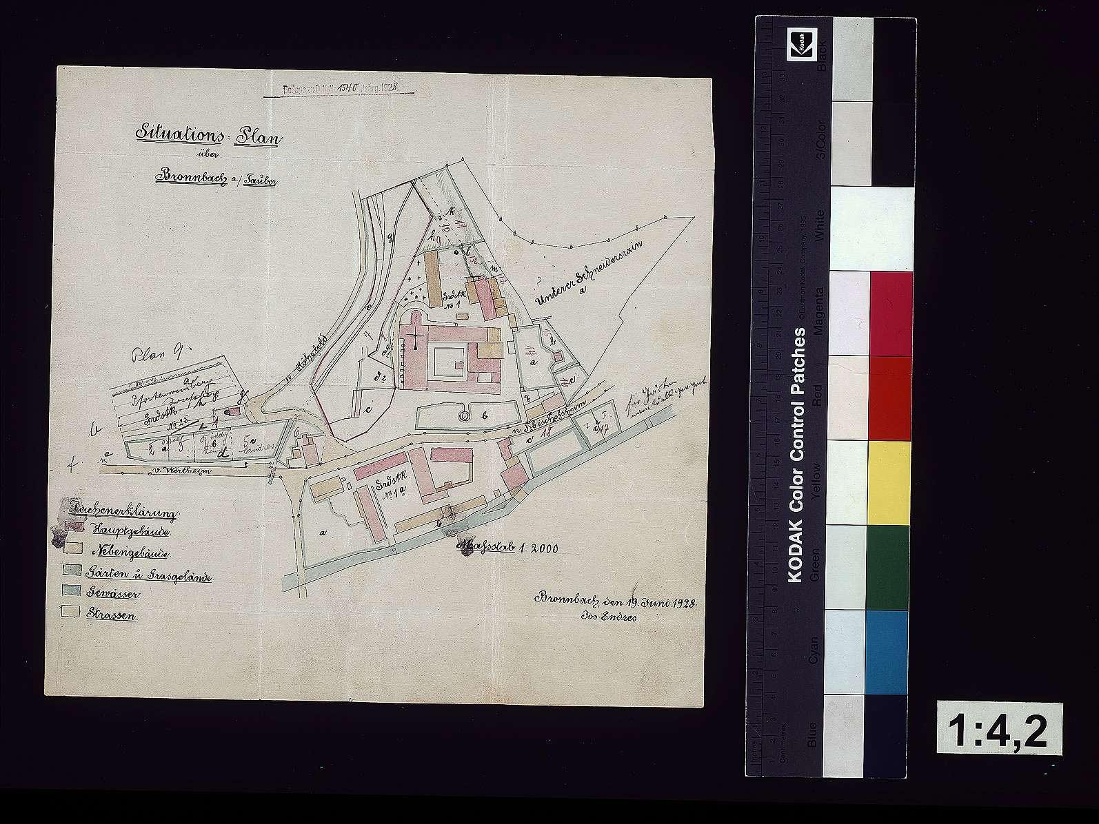 Situationsplan über Bronnbach, Bild 1