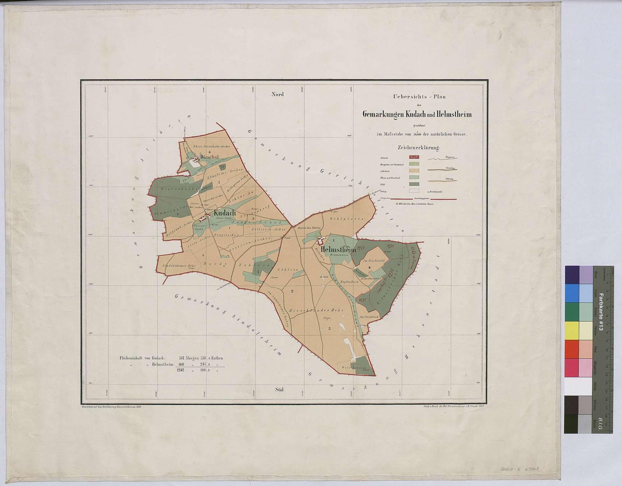 Übersichtsplan der Gemarkungen Kudach und Helmstheim (Inselkarte), Bild 1