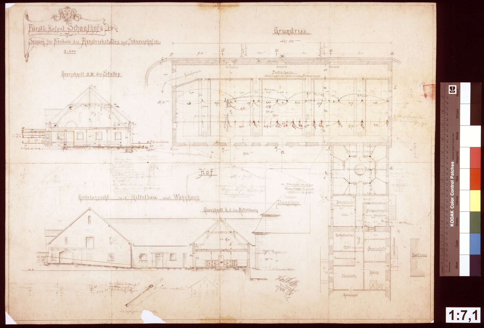 Schafhof: Skizzen für den Neubau eines Rinder- und Schweinestalles, Bild 1