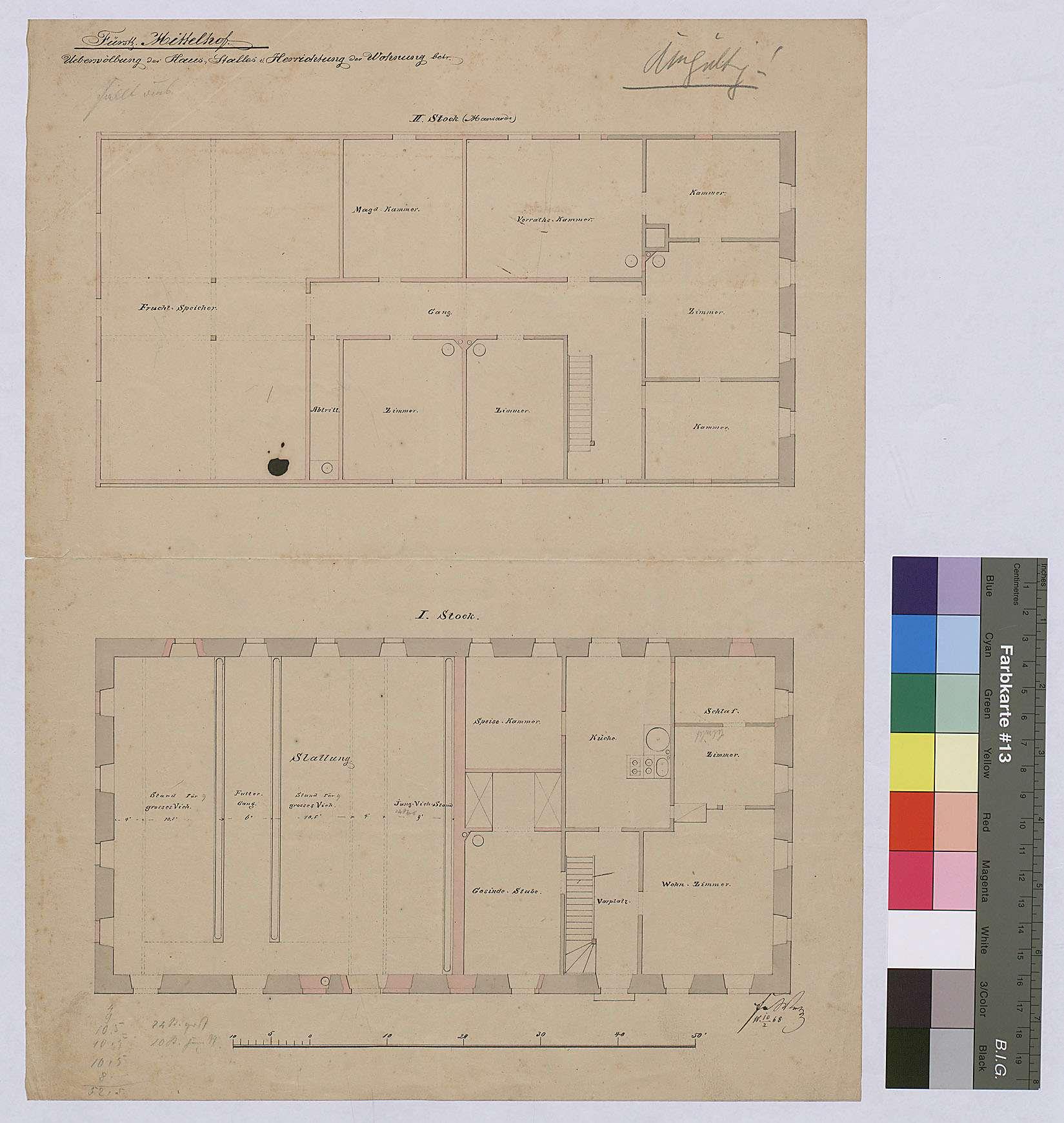 Mittelhof: Überwölbung des Hausstalles und Herrichtung der Wohnung, Bild 1