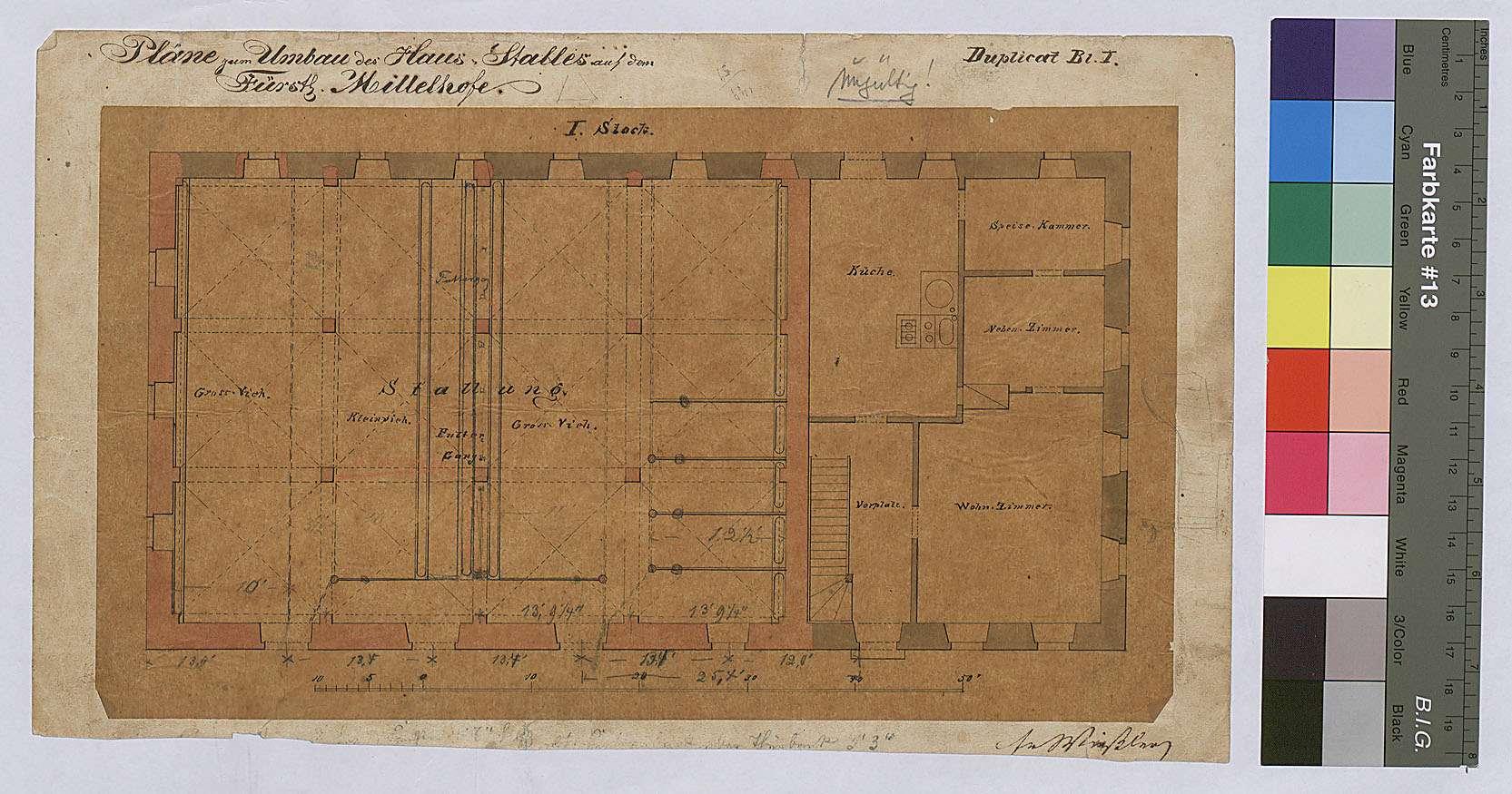 Mittelhof: Pläne zum Umbau des Hausstalls, Bild 1