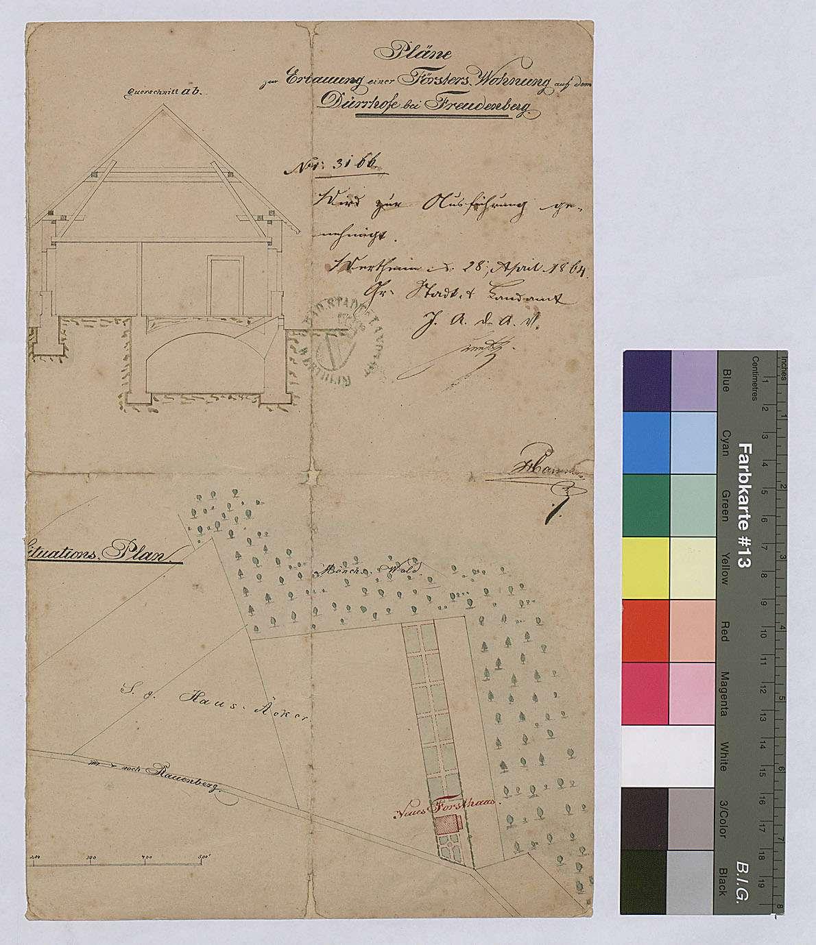 Dürrhof: Pläne zum Bau einer Försterwohnung und Situationsplan, Bild 1