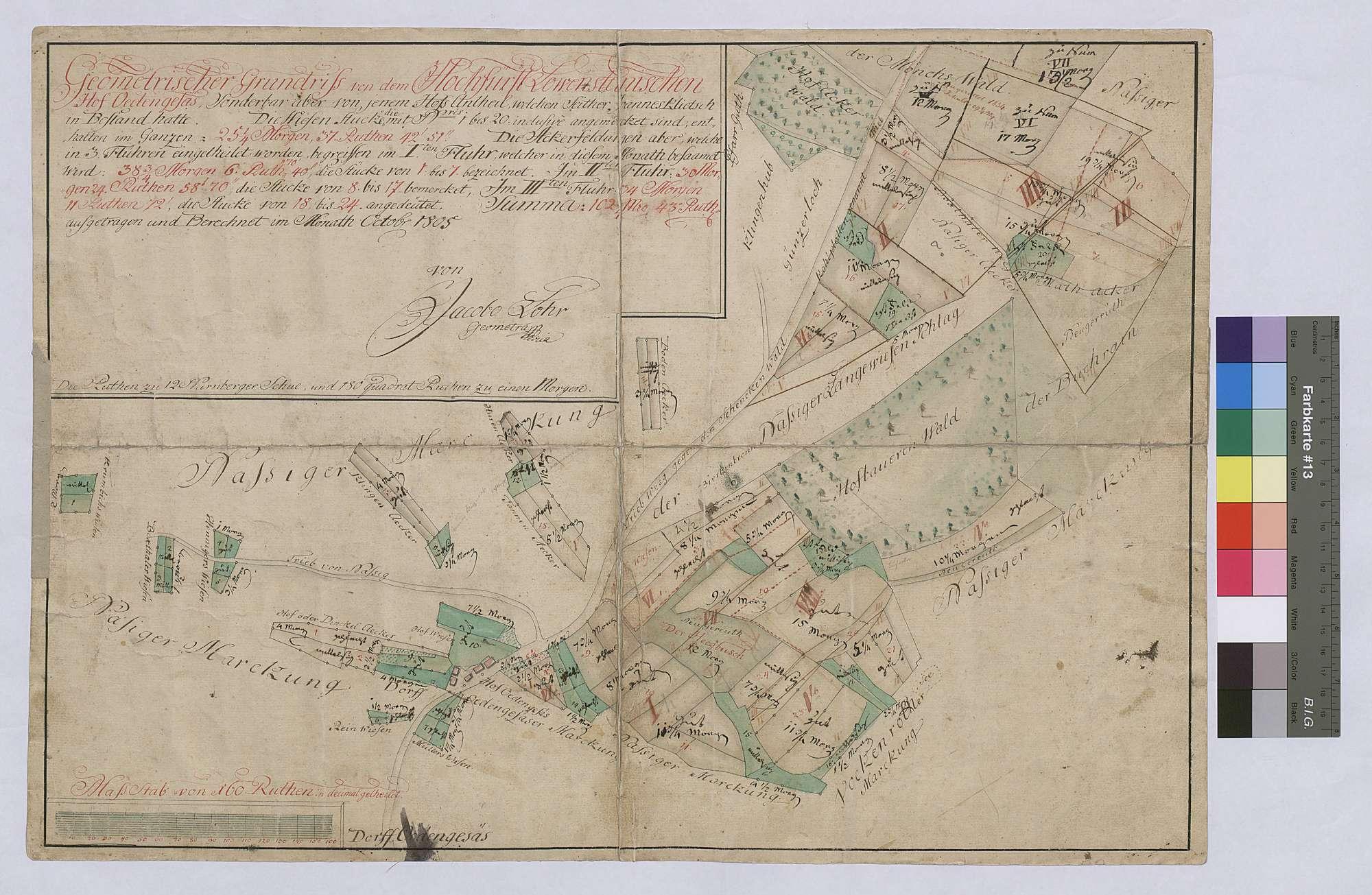 Hofgut Ödengesäß, sonderbar aber von jenem Hofanteil, welchen seither Johannes Klietsch in Bestand hatte (Inselkarte), Bild 1