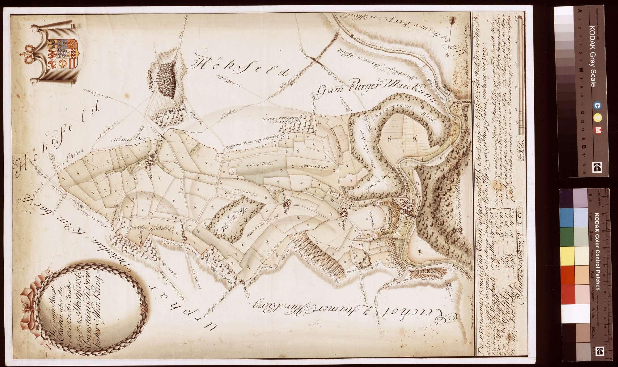 Verjüngte Hauptkarte über die rechterseits der Tauber befindliche Bronnbacher Markung (Inselkarte), Bild 1