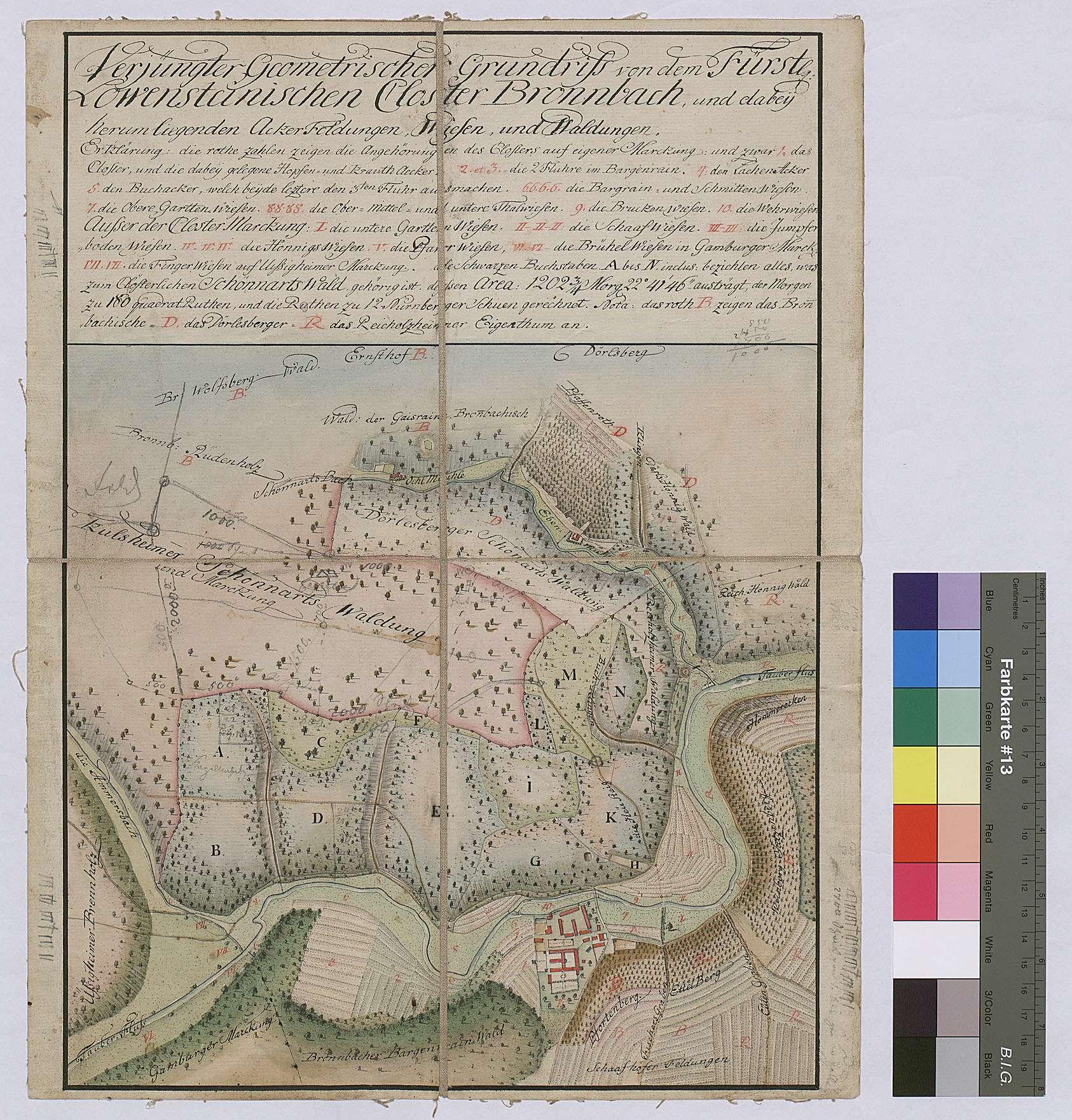 Verjüngter geometrischer Grundriss von dem Kloster Bronnbach und dabei herumliegenden Ackerfeldungen, Wiesen und Waldungen (Inselkarte), Bild 1