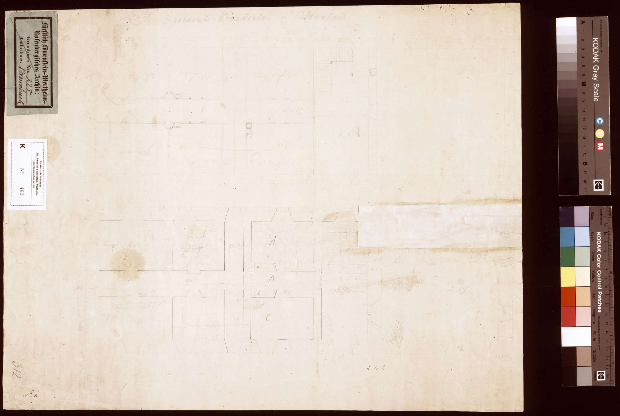 Hofgut Wagenbuch: Zusammenstellung der Äcker (Inselkarte), Rückseite