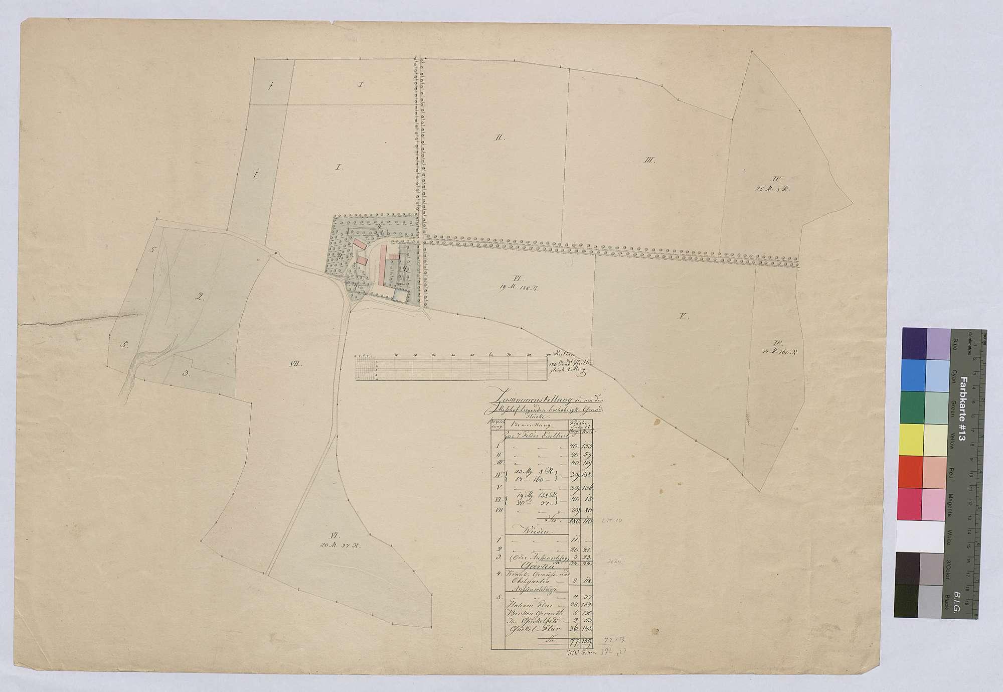 Zusammenstellung der um den [Hinteren] Meßhof liegenden Grundstücke (Inselkarte), Bild 1