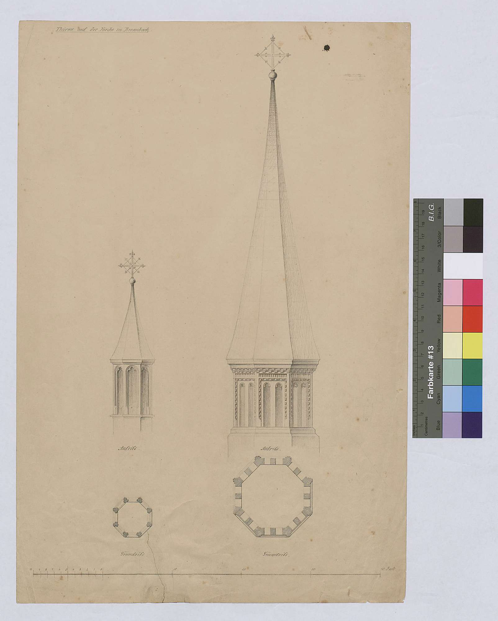 Türme auf der Bronnbacher Kirche, Bild 1