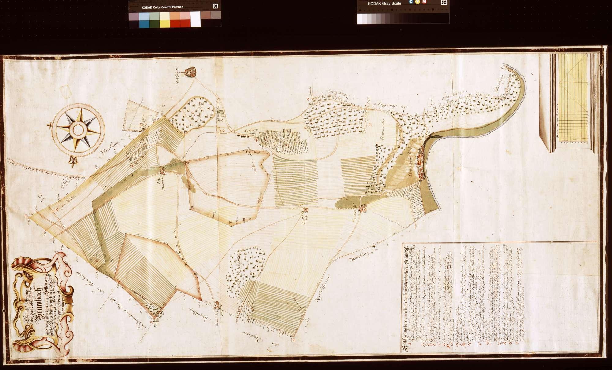 Grundzeichnung über das Kloster Bronnbach und desselben inserierten Höfen angehörige Markung, welche nach deren Zirkumferenz gemessen und in diese Mappam gebracht worden anno 1747 (Inselkarte), Bild 1