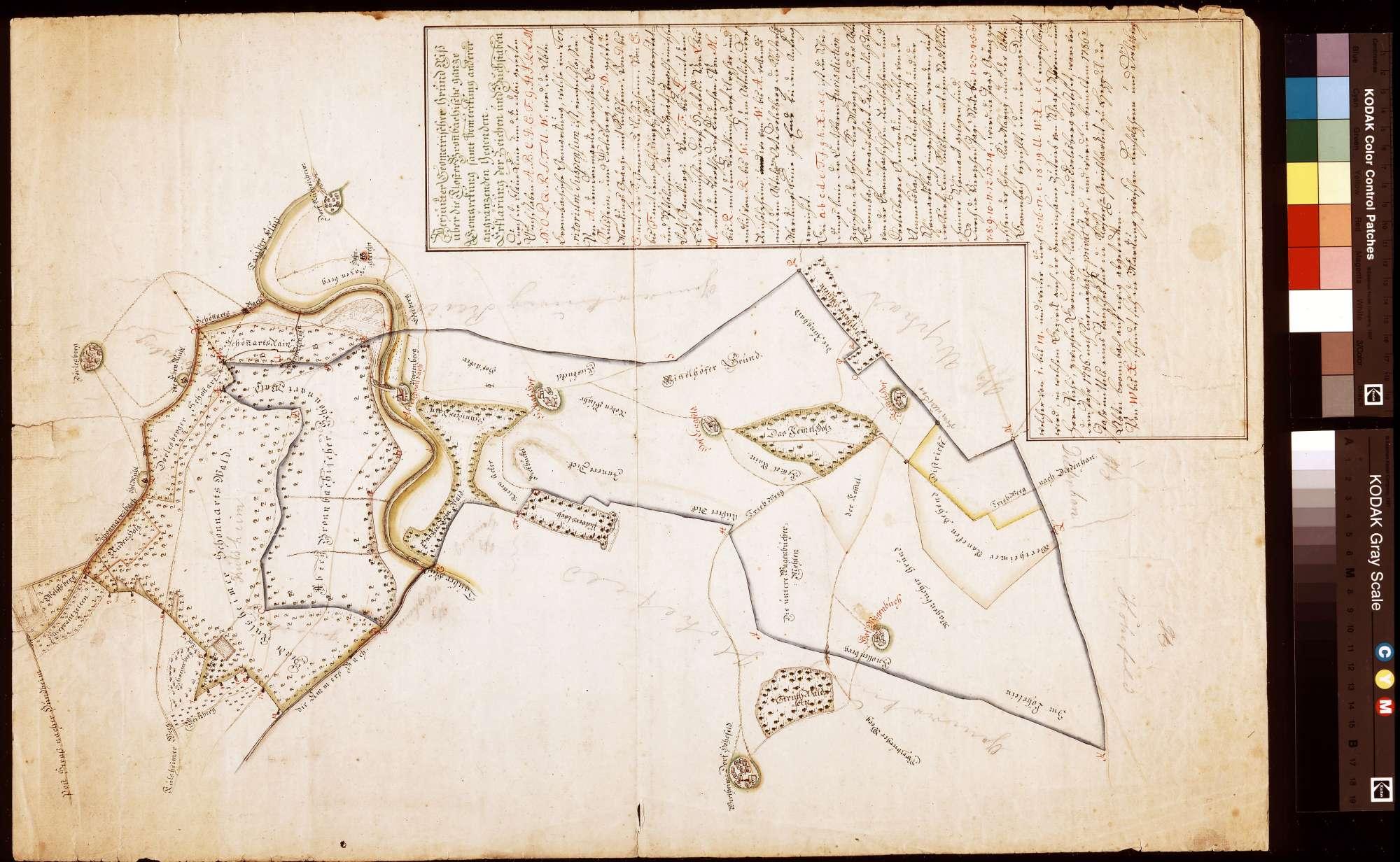 Verjüngter geometrischer Grundriss über die Kloster Bronnbachische ganze Gemarkung samt Bemerkung anderer angrenzender Gegenden (Inselkarte), Bild 1