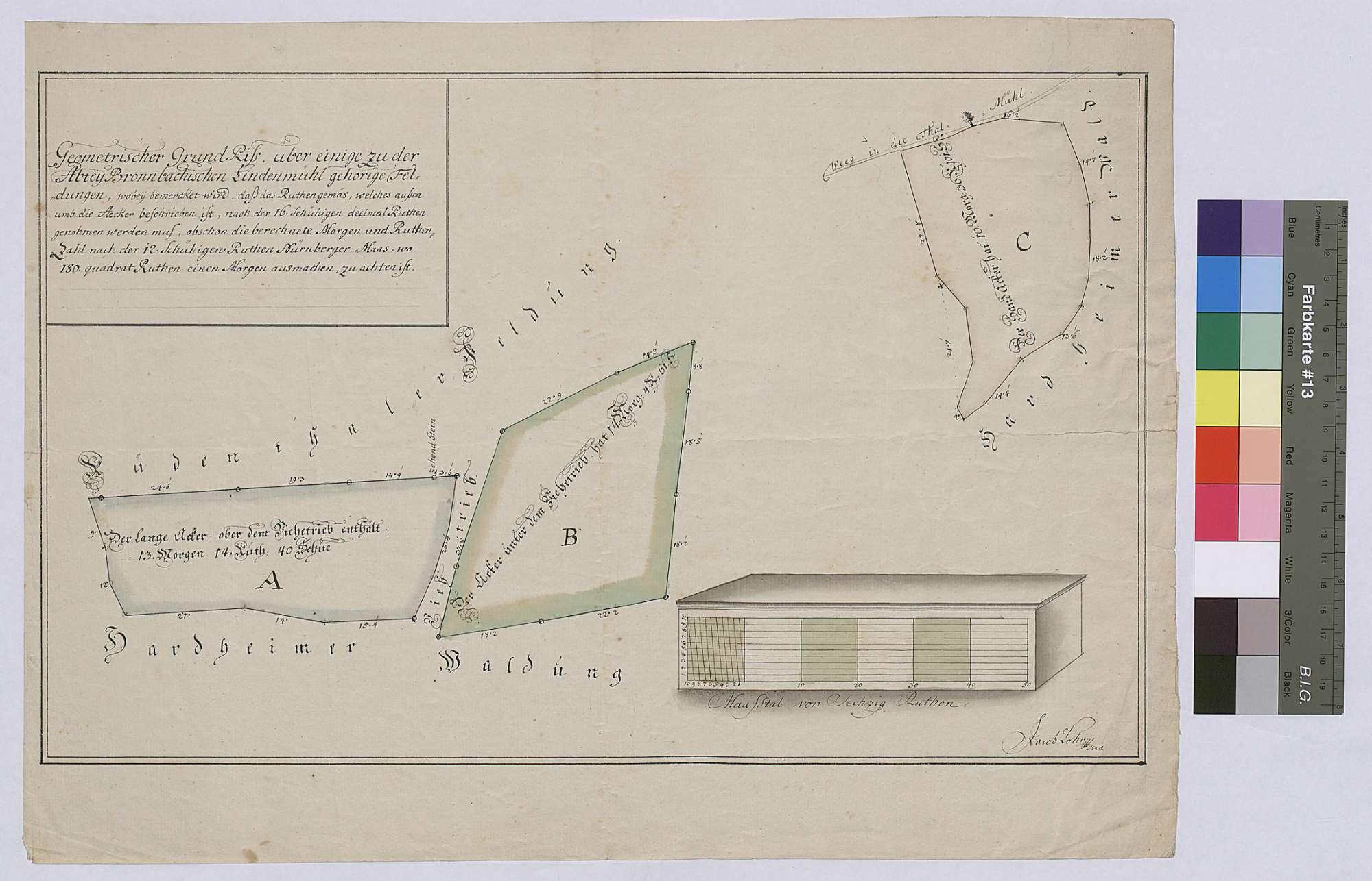 Geometrischer Grundriss einiger zur bronnbachischen Lindenmühle gehörigen Feldungen (Inselkarte), Bild 1