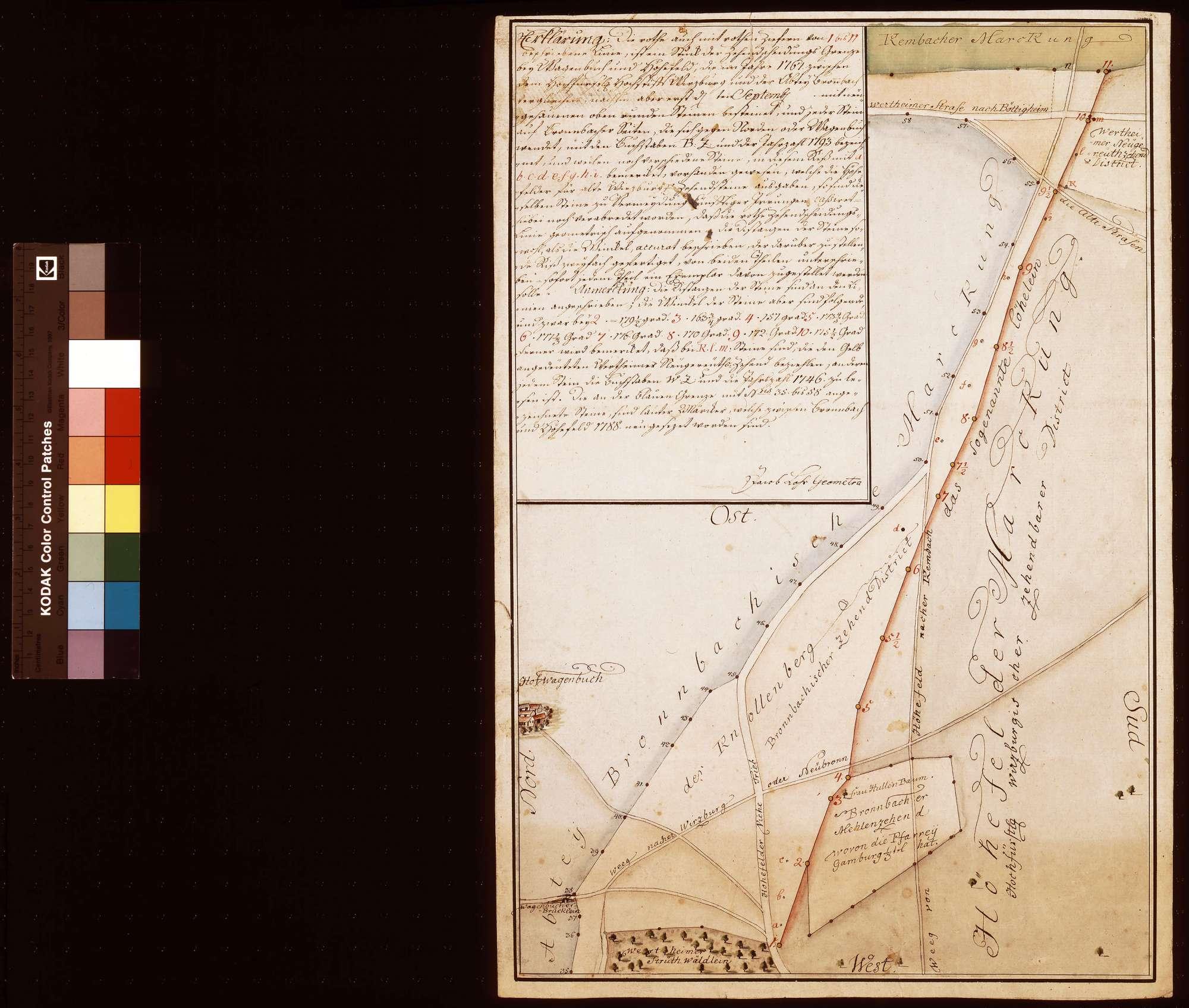 [Zehntscheidungsgrenze zwischen dem Bronnbacher Hof Wagenbuch und Höhefeld, aufgenommen nach der Kassation der alten Grenzsteine 1794], Bild 1
