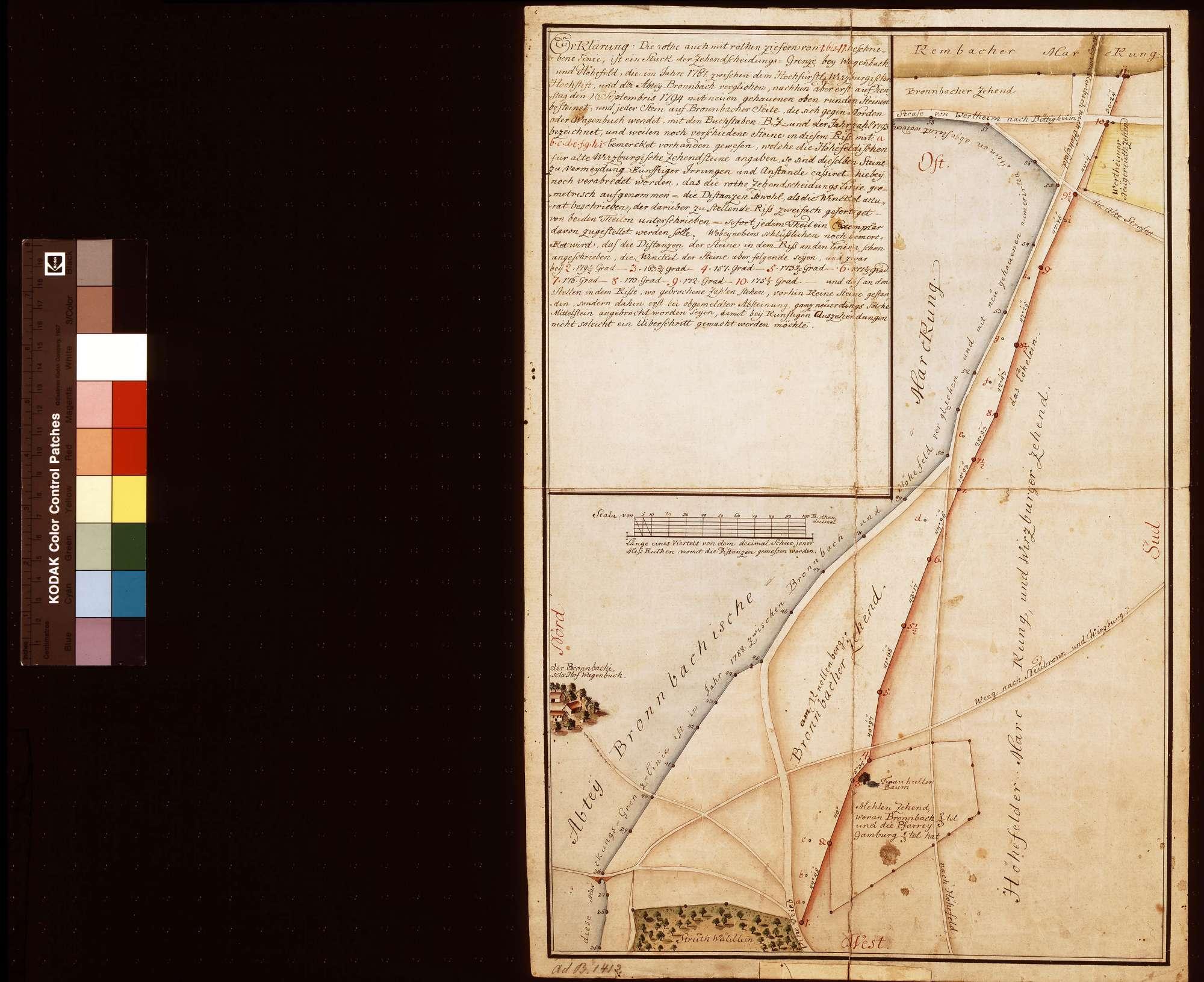 [Zehntscheidungsgrenze zwischen dem Bronnbacher Hof Wagenbuch und Höhefeld, aufgenommen anlässlich der Neuabsteinung am 16. September 1794], Bild 1